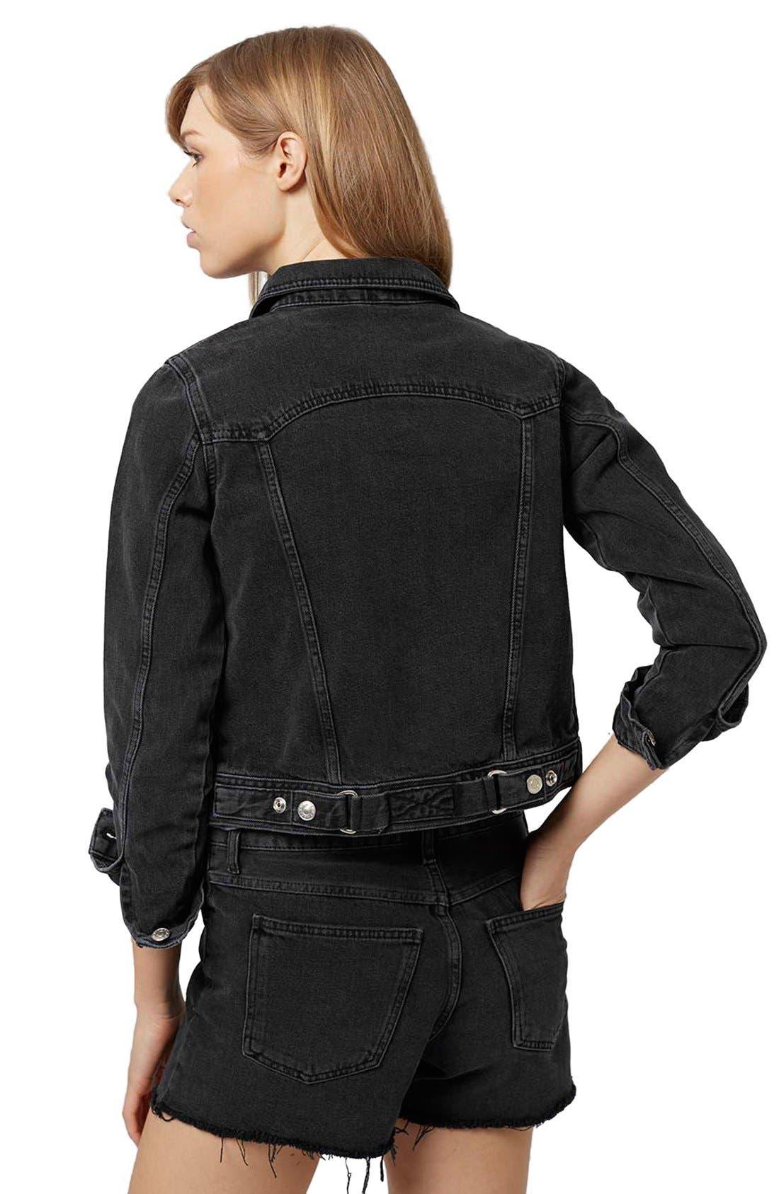 Alternate Image 3  - Topshop Moto 'Tilda' Washed Denim Jacket (Black)