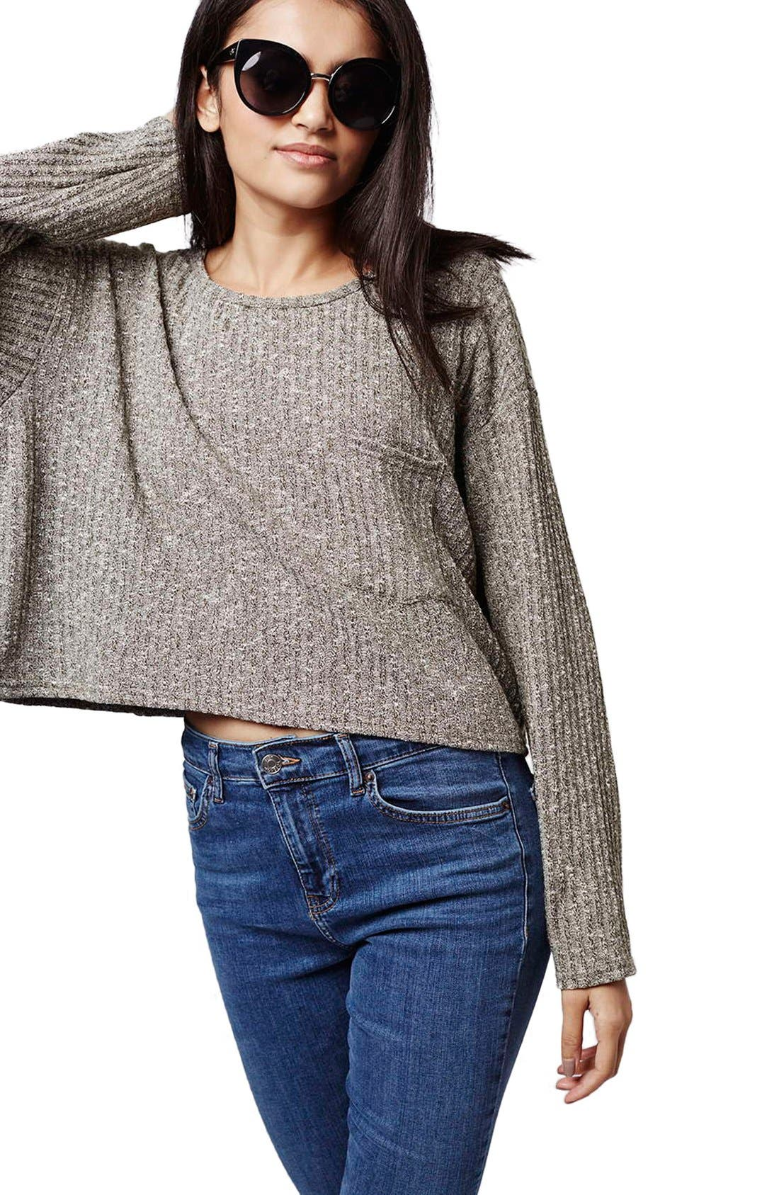 Ribbed Crop Top,                             Alternate thumbnail 6, color,                             Olive