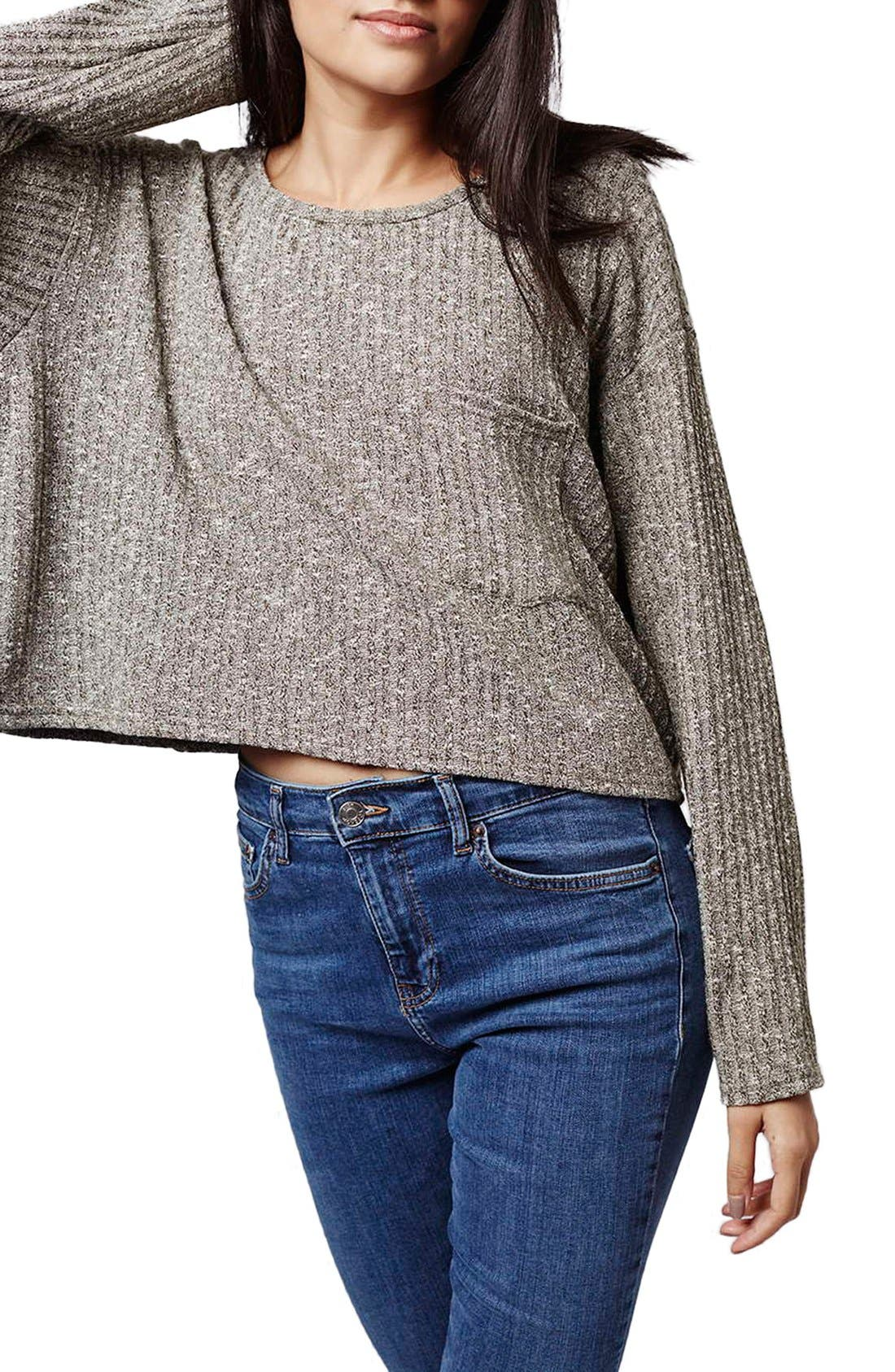 Ribbed Crop Top,                         Main,                         color, Olive