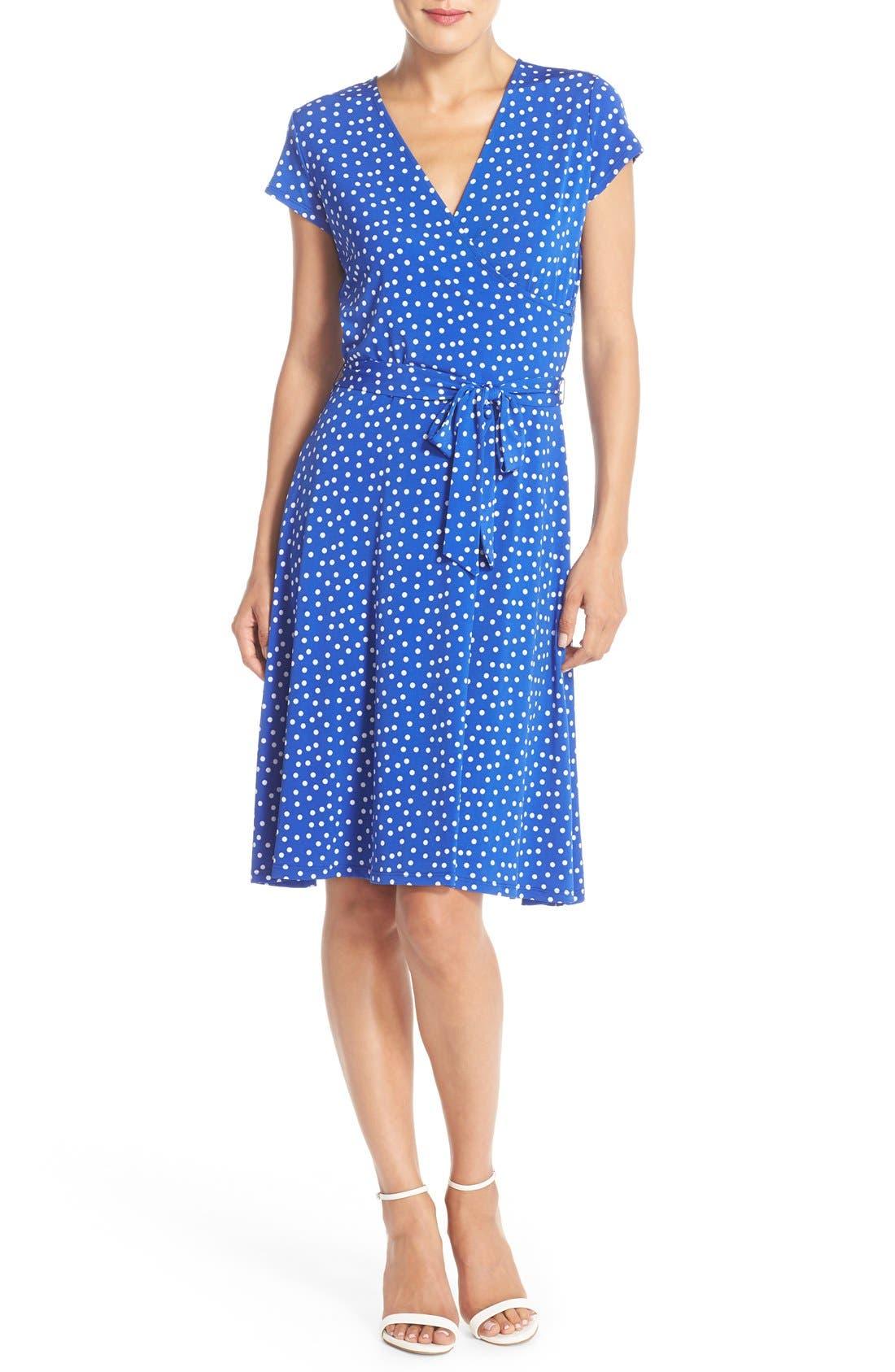 Alternate Image 4  - Leota 'Perfect' Faux Wrap Polka Dot Jersey Dress