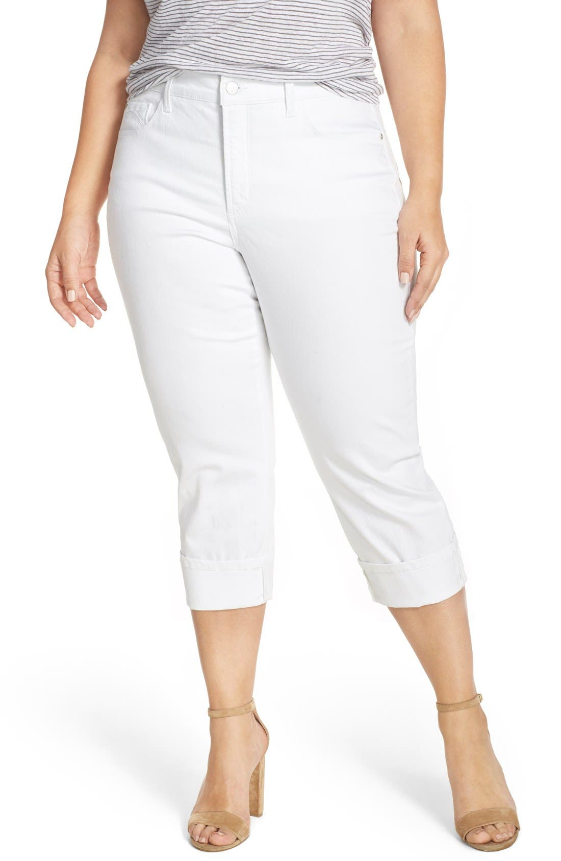 Main Image - NYDJ 'Dayla' Wide Cuff Stretch Crop Boyfriend Jeans (Plus Size)