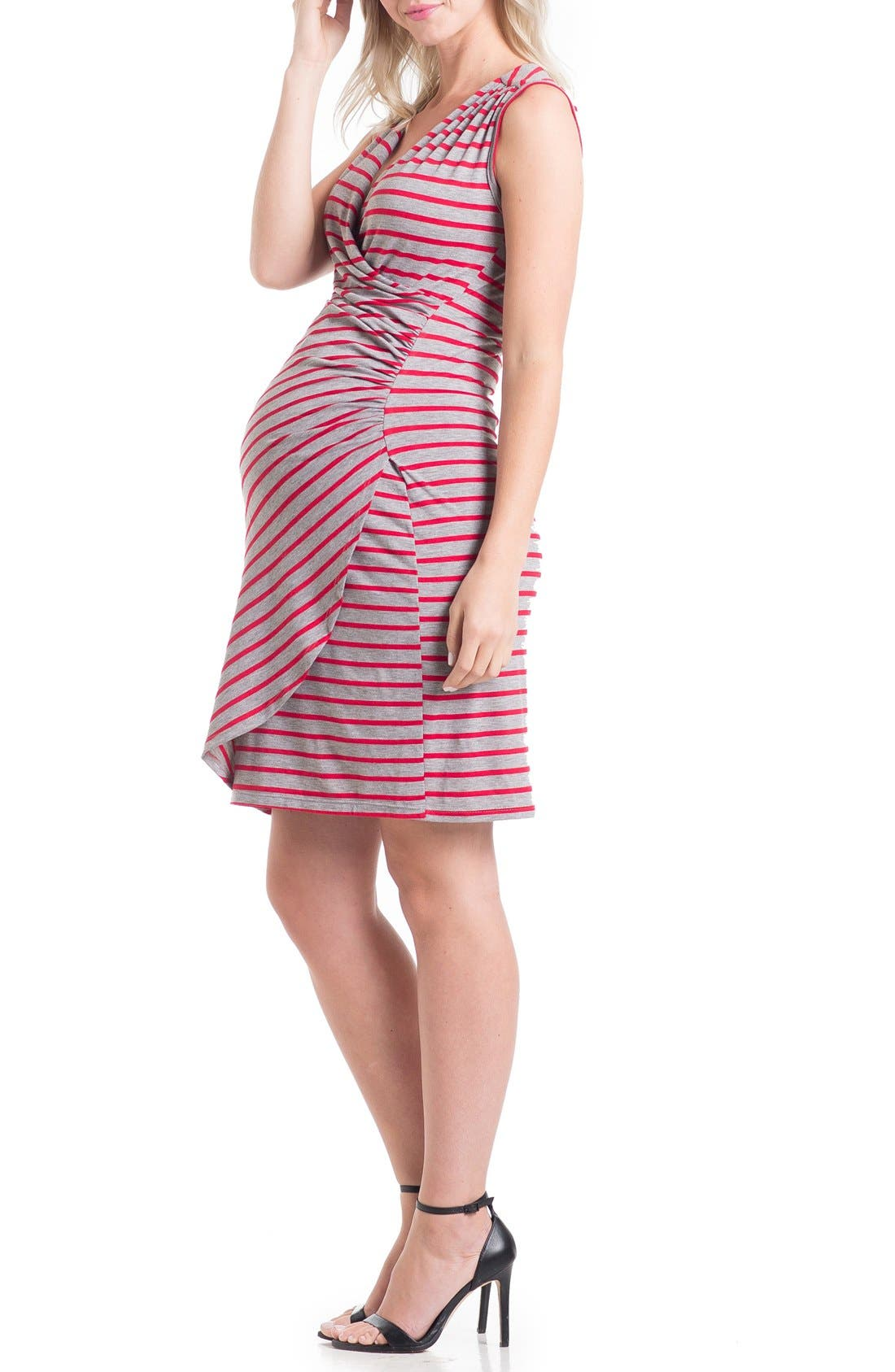 'Brynley' Surplice Maternity Dress,                             Main thumbnail 1, color,                             Grey/ Tomato Stripe
