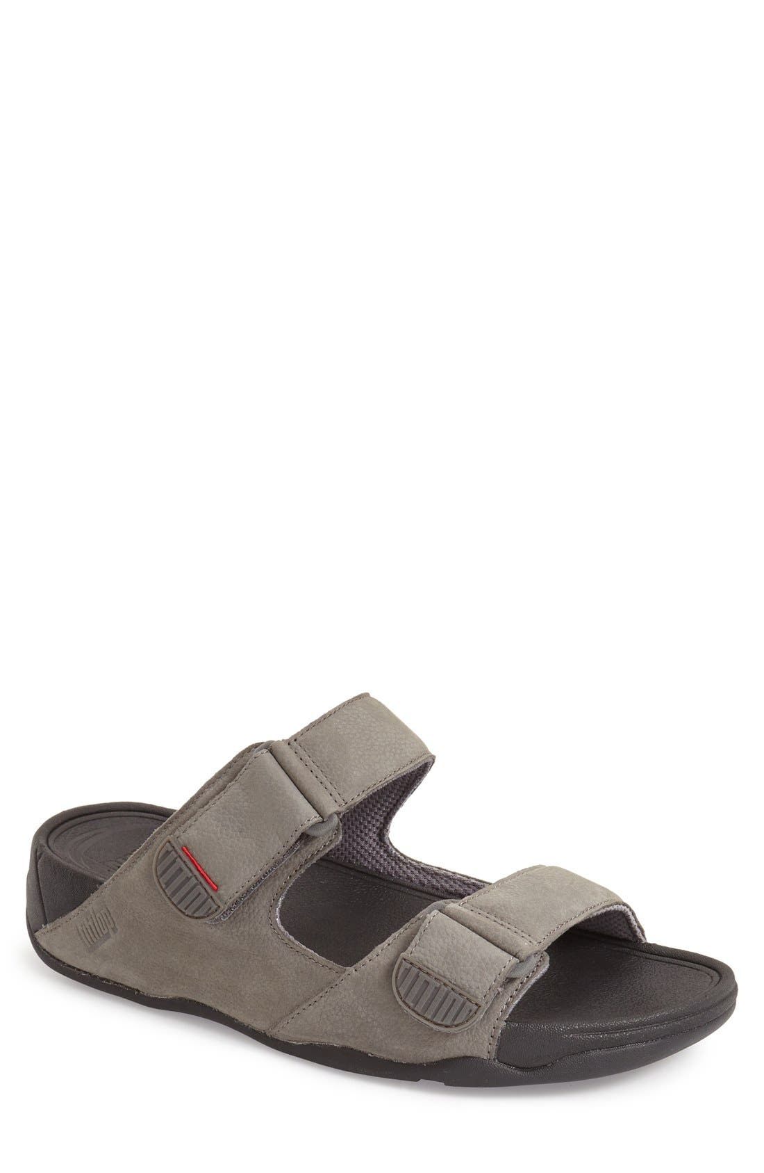 Gogh Sandal,                         Main,                         color, Charcoal Leather