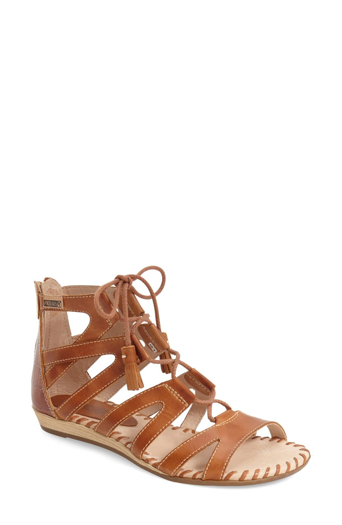 'Alcudia' Lace-Up Sandal,                             Main thumbnail 1, color,                             Brandy/ Brandy Leather