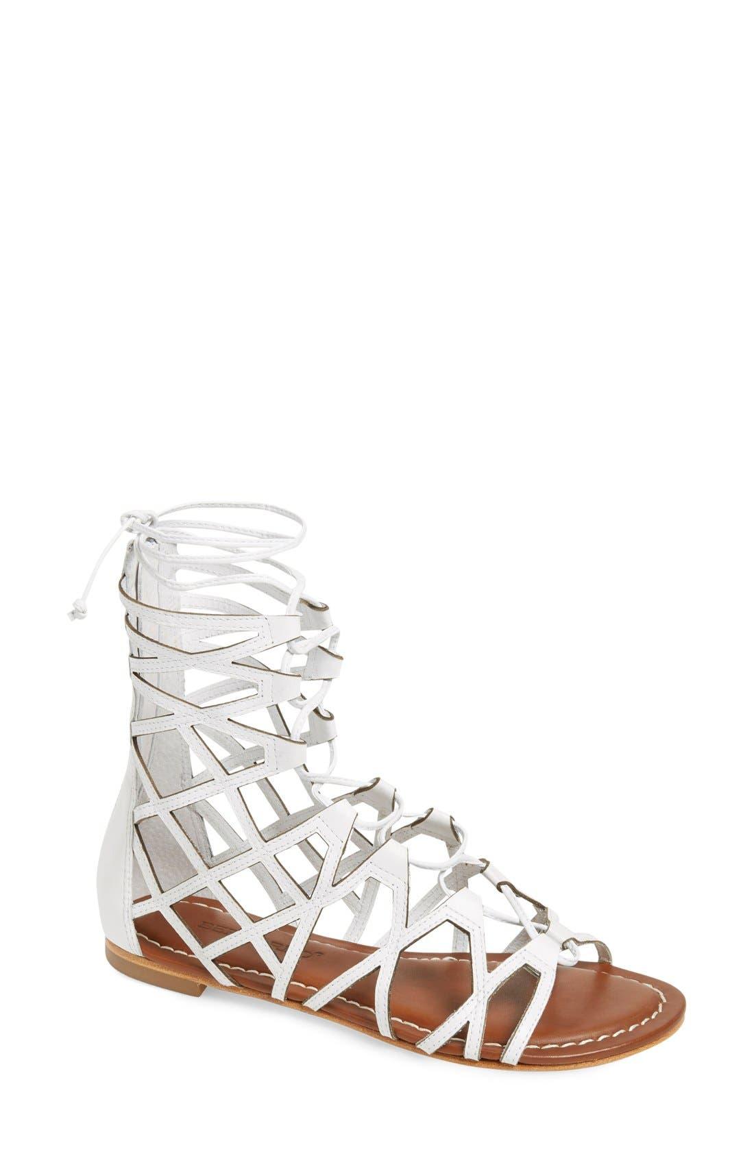 Bernardo Willow Gladiator Sandal,                         Main,                         color, White Leather