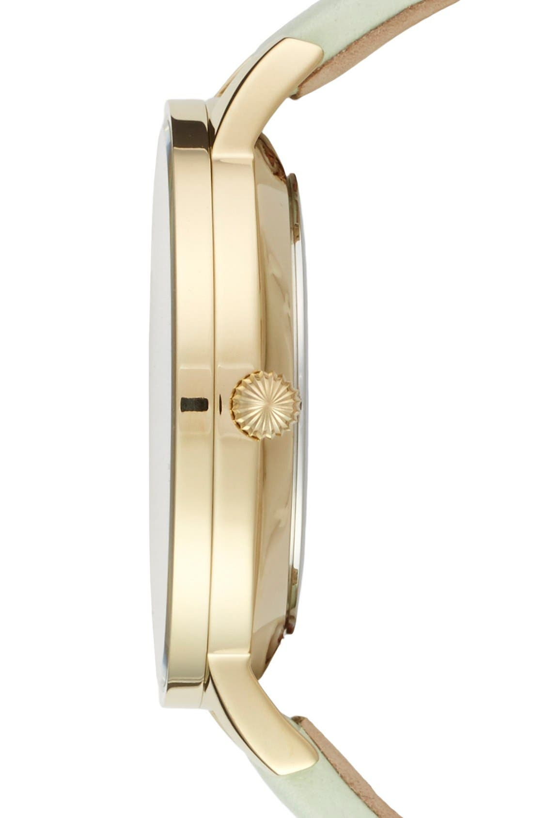 Alternate Image 3  - Ted Baker Round Dial Leather Strap Watch, 40mm