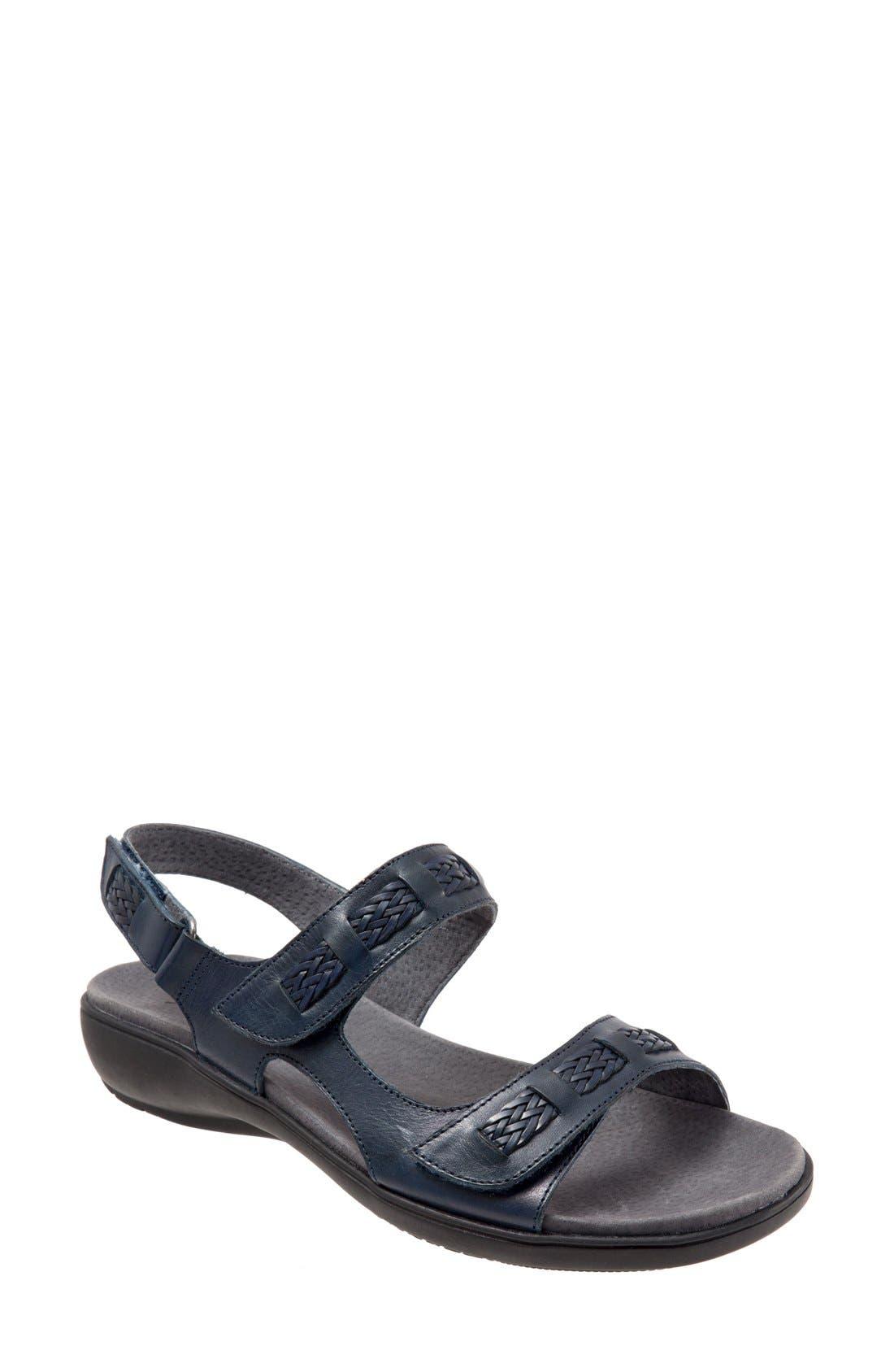 'Kip' Sandal,                             Main thumbnail 1, color,                             Navy Leather