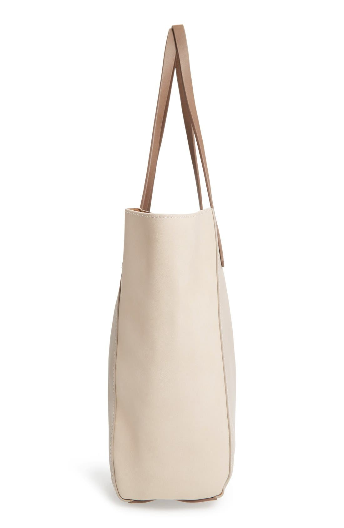 Colorblock Faux Leather Tote,                             Alternate thumbnail 5, color,                             Tan