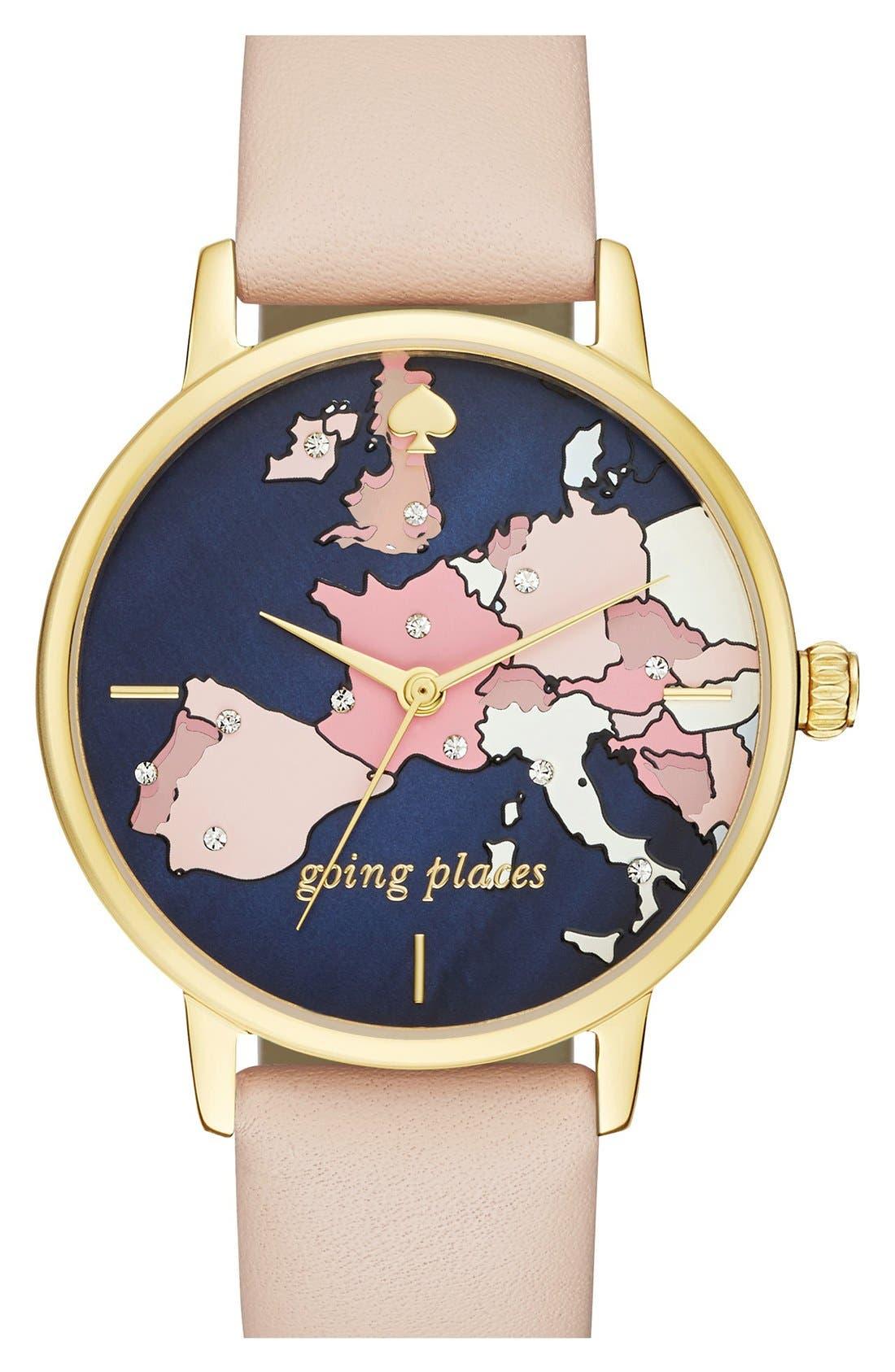 'metro' leather strap watch, 34mm,                         Main,                         color, Vachetta/ Europe