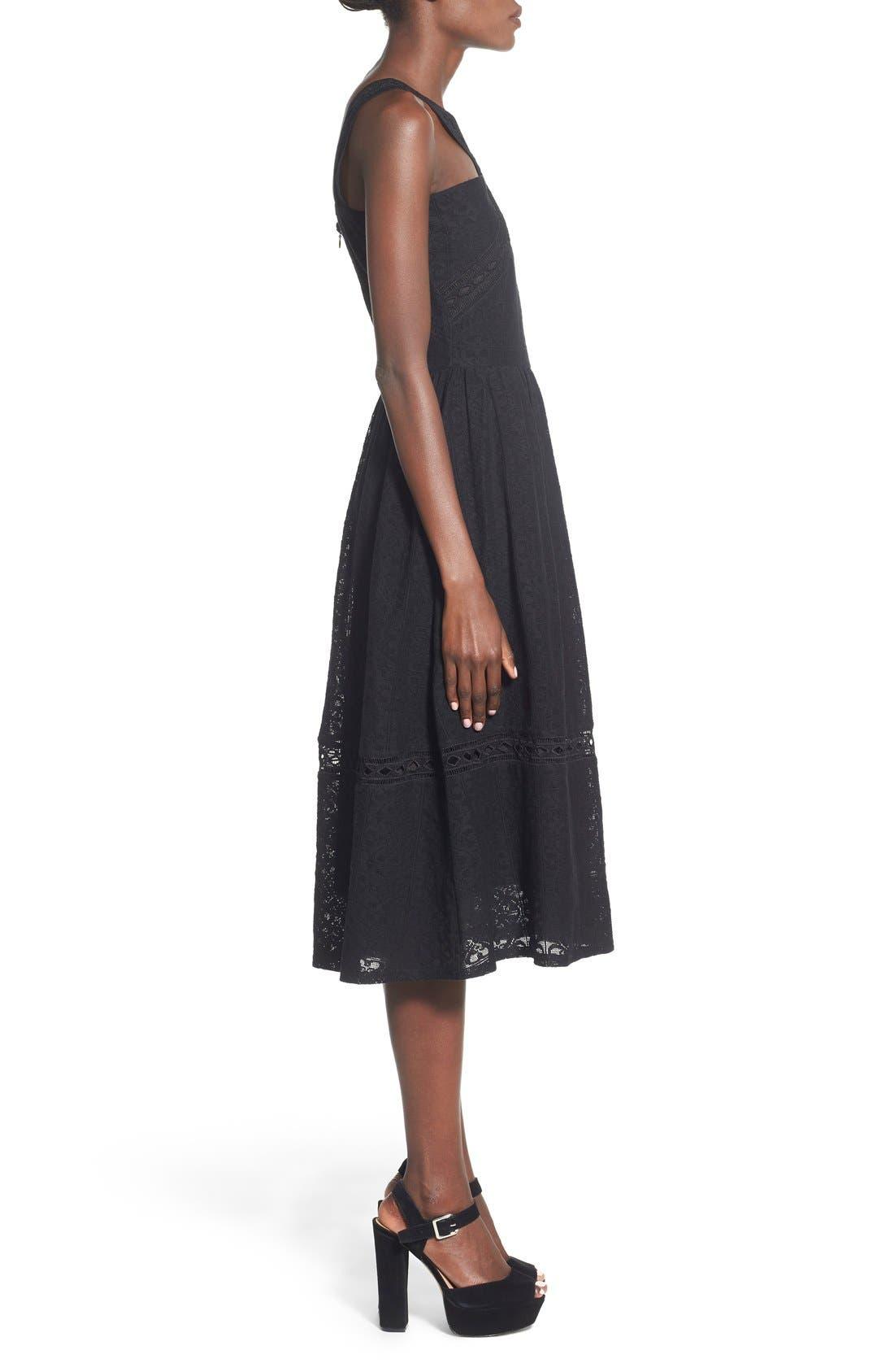 Lace Fit & Flare Midi Dress,                             Alternate thumbnail 3, color,                             Black