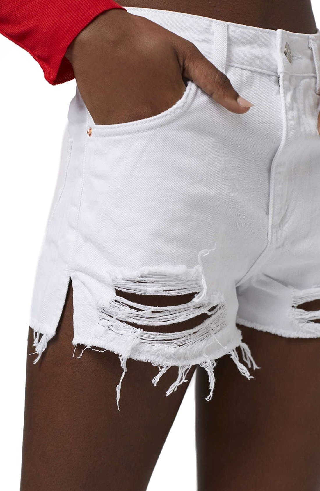Alternate Image 5  - Topshop High Rise Ripped Denim Shorts