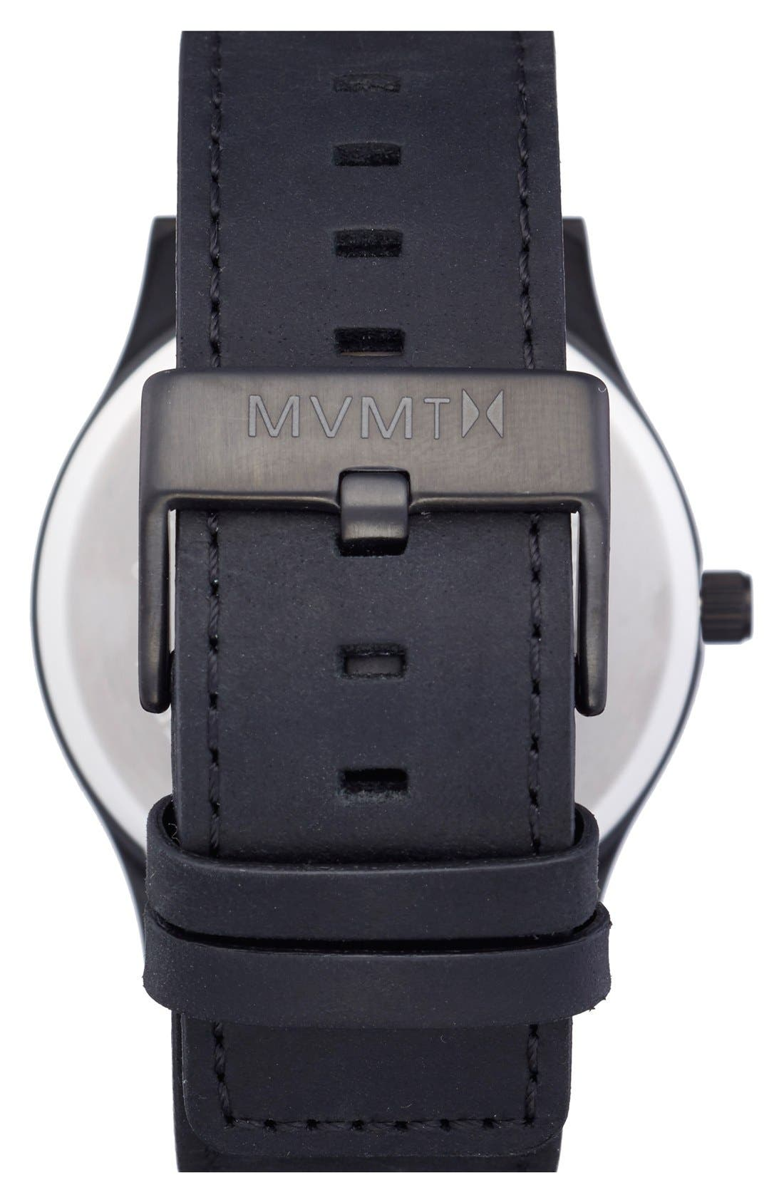 Leather Strap Watch, 45mm,                             Alternate thumbnail 2, color,                             Black/ Black