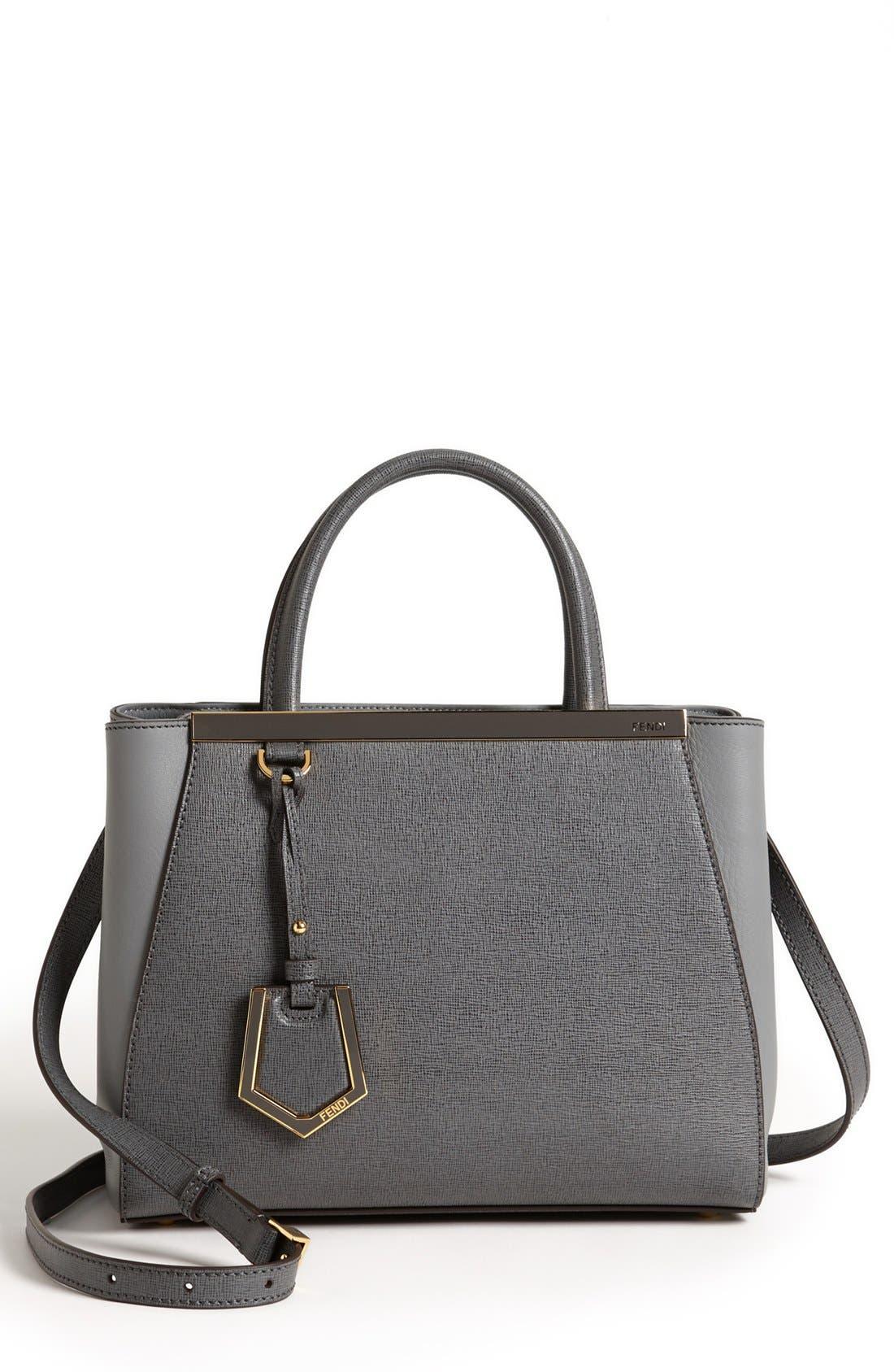 'Petite 2Jours Elite' Leather Shopper,                             Main thumbnail 1, color,                             Grey/ Gold Hdwr