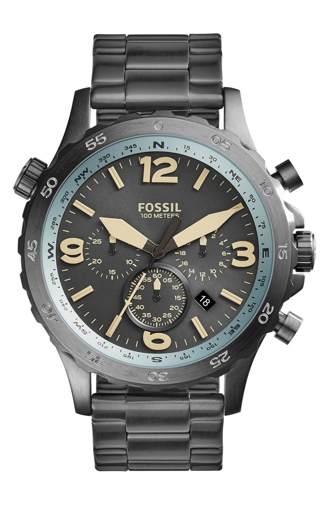 Alternate Image 1 Selected - Fossil 'Nate' Chronograph Bracelet Watch, 50mm