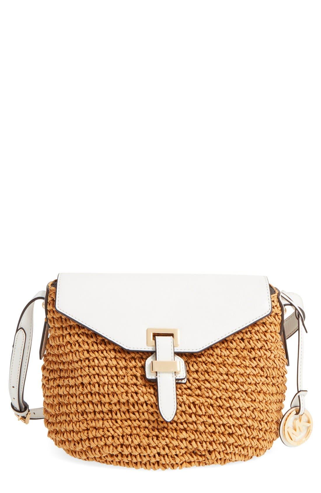 Alternate Image 1 Selected - MICHAEL Michael Kors 'Medium Naomi' Straw & Leather Messenger Bag