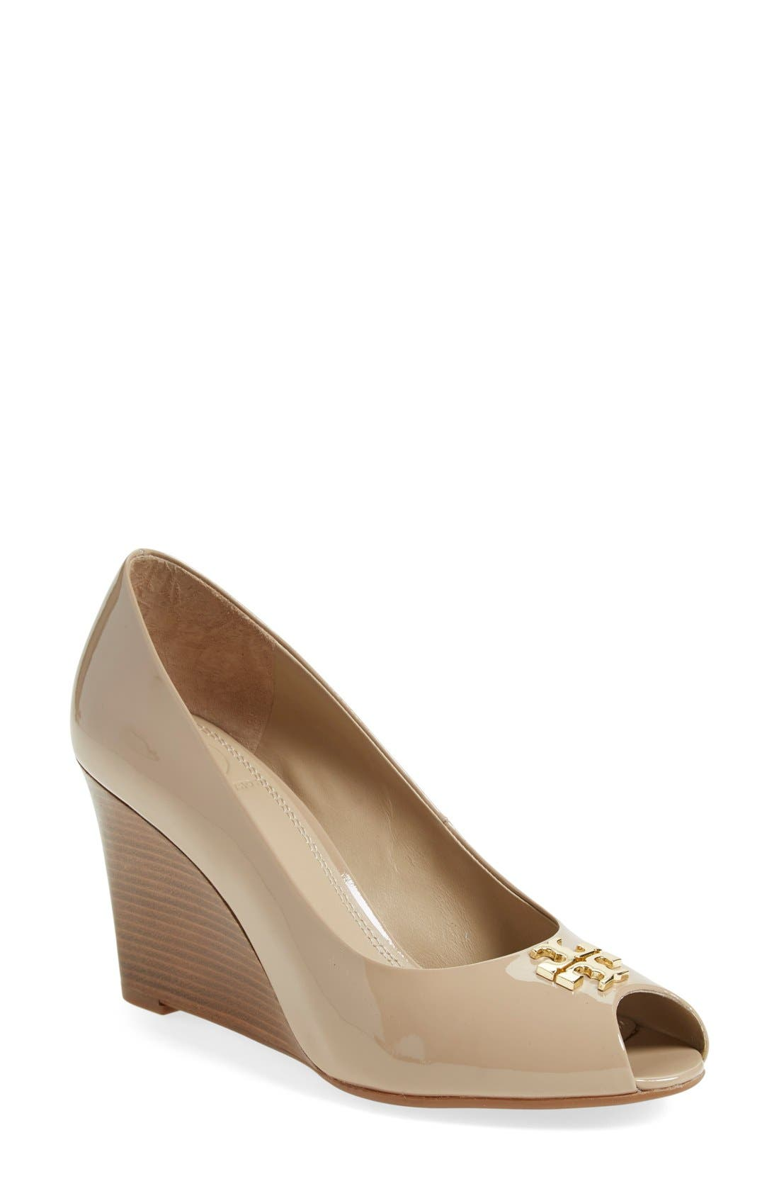 Main Image - Tory Burch 'Jade' Peep Toe Wedge (Women) (Nordstrom