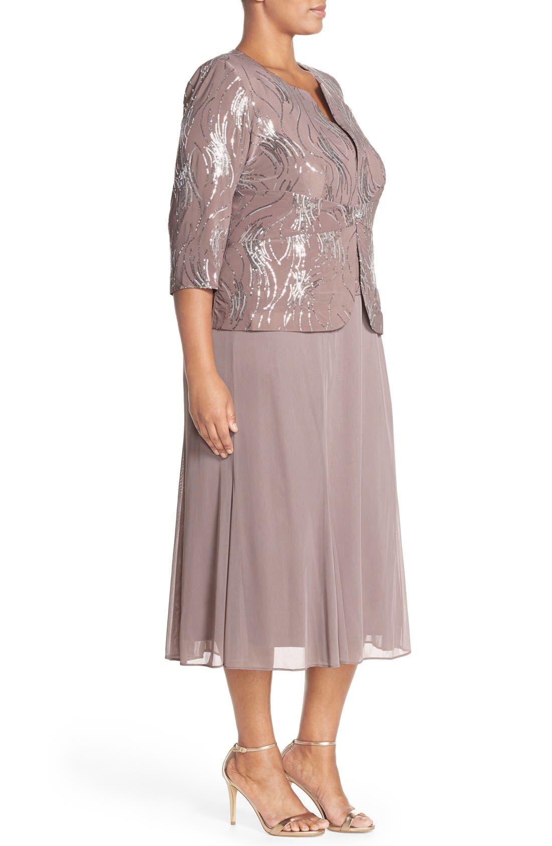 Alternate Image 4  - Alex Evenings Sequin Mock Two-Piece Dress with Jacket (Plus Size)