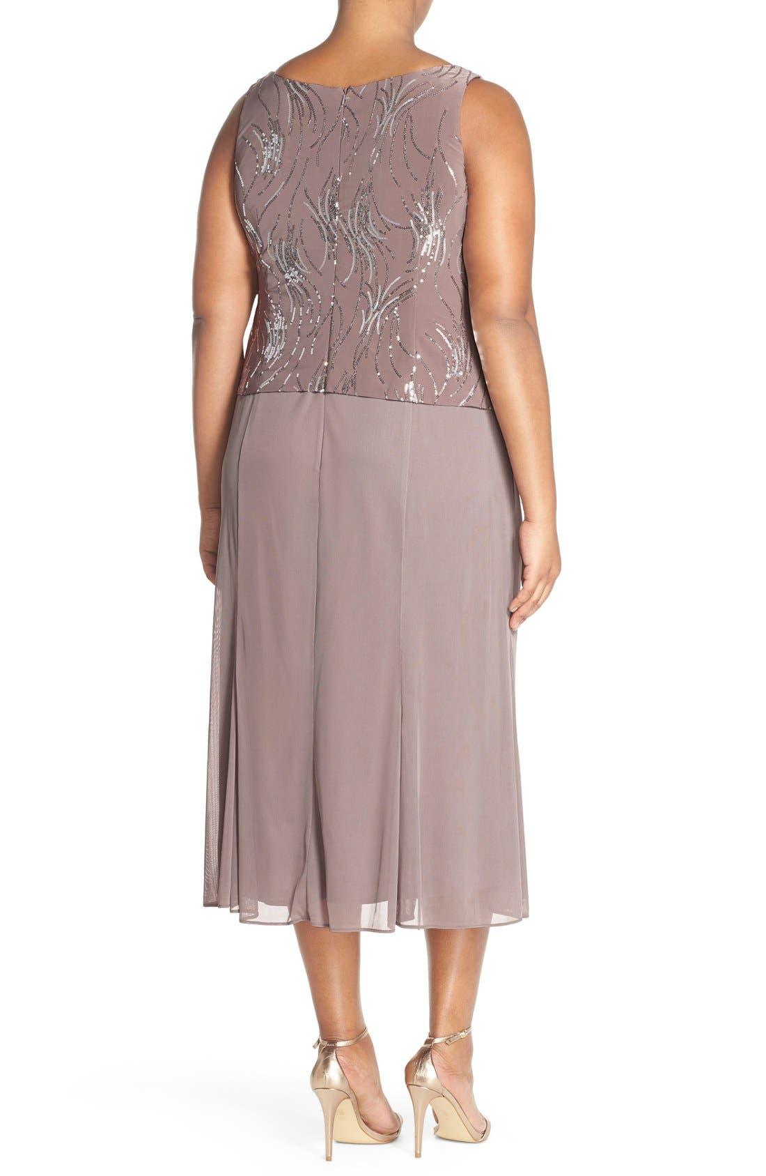 Alternate Image 2  - Alex Evenings Sequin Mock Two-Piece Dress with Jacket (Plus Size)