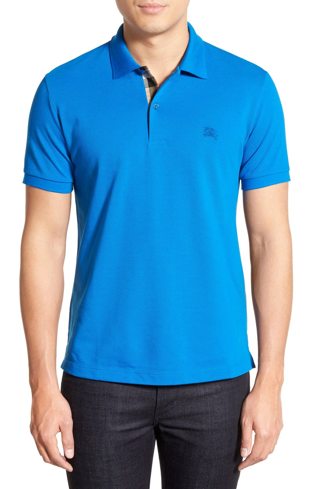 Burberry Core Short Sleeve Pique Polo Shirt Bright Opal