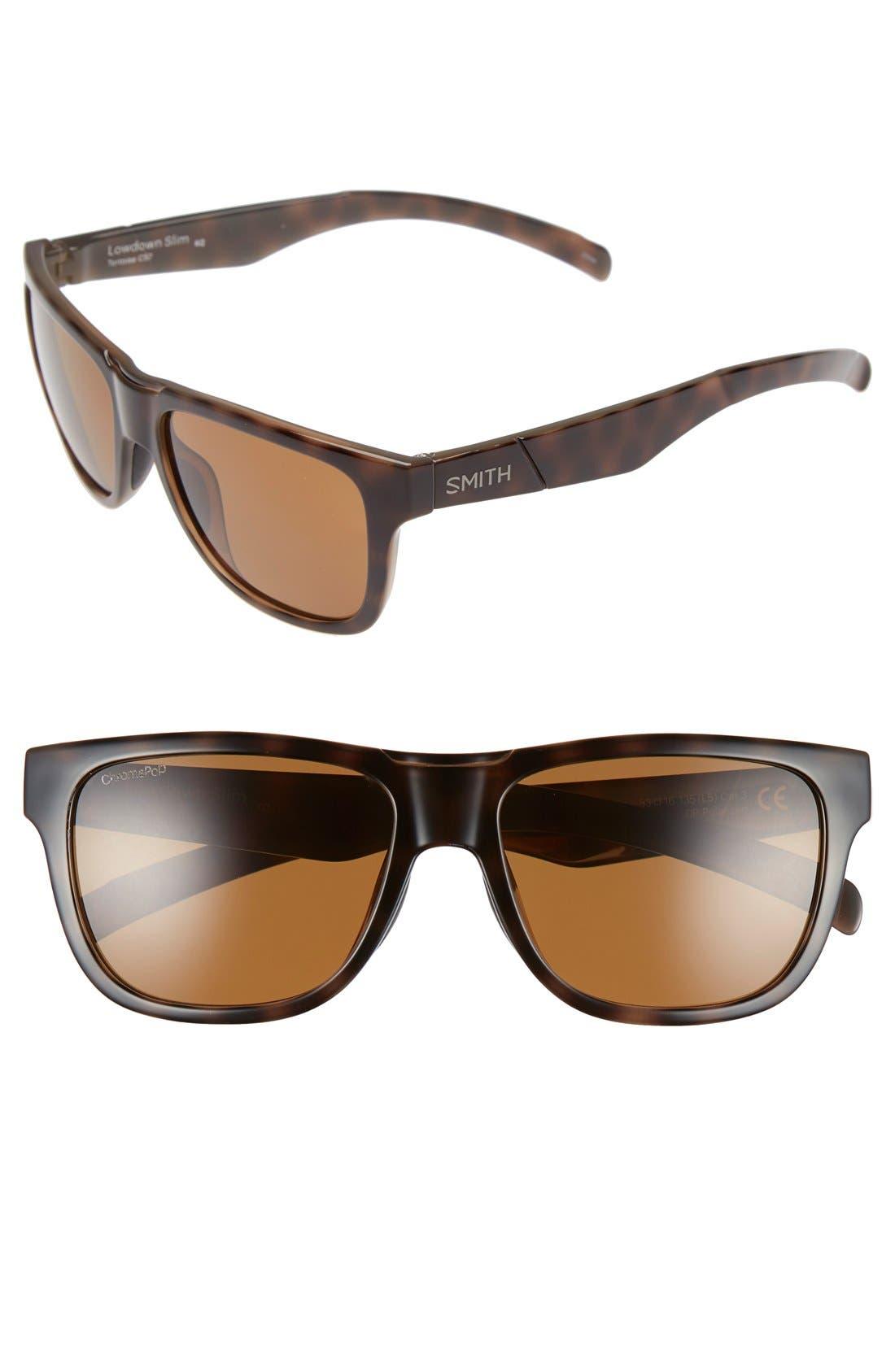 'Lowdown Slim' 53mm Sunglasses,                         Main,                         color, Tortoise/ Polarized Brown