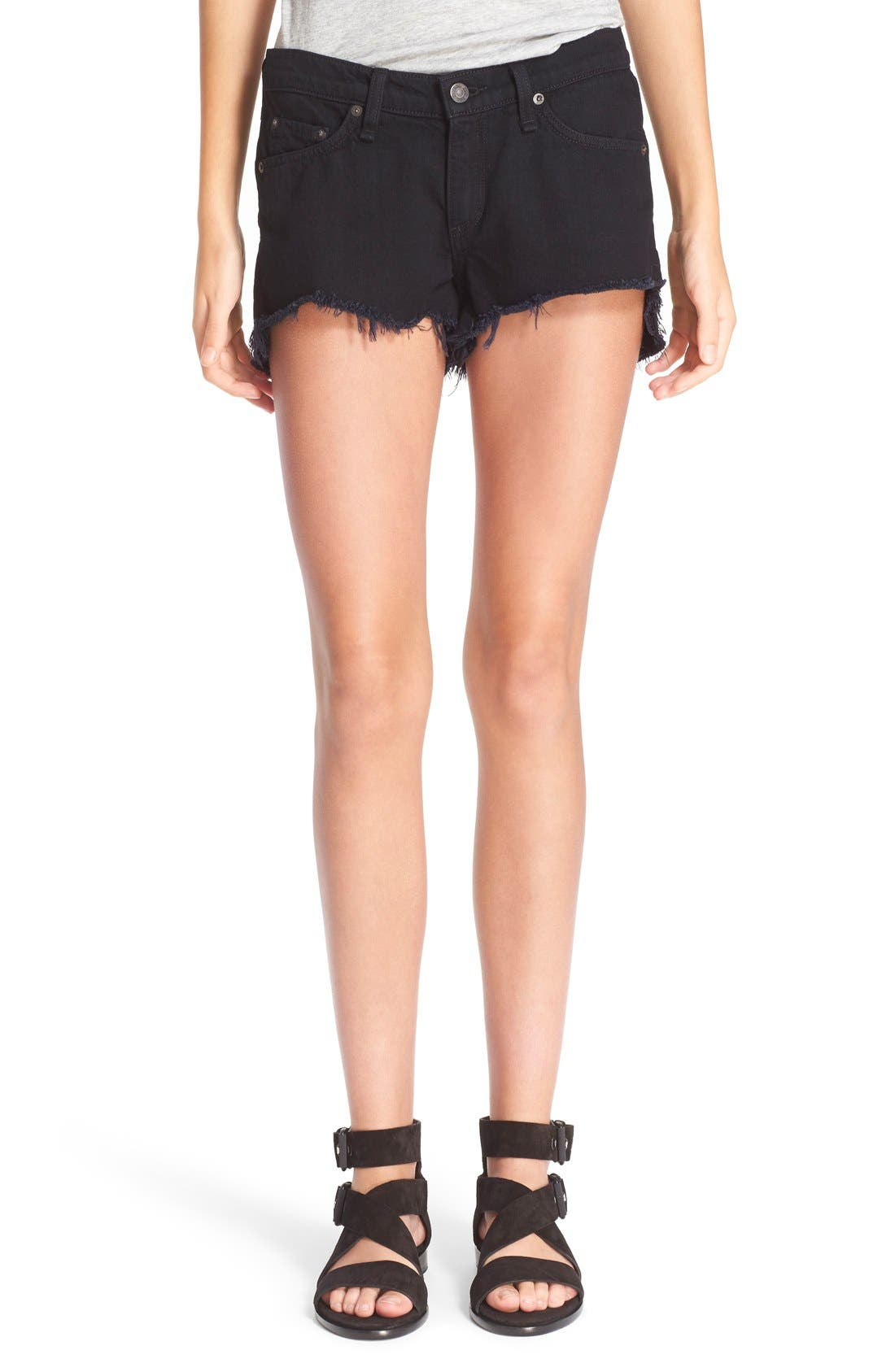 Cutoff Denim Shorts,                         Main,                         color, Black Frpr