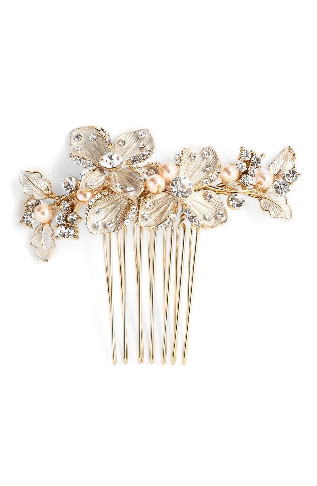 'Petite Garden' Crystal Hair Comb,                         Main,                         color, Gold/ Blush