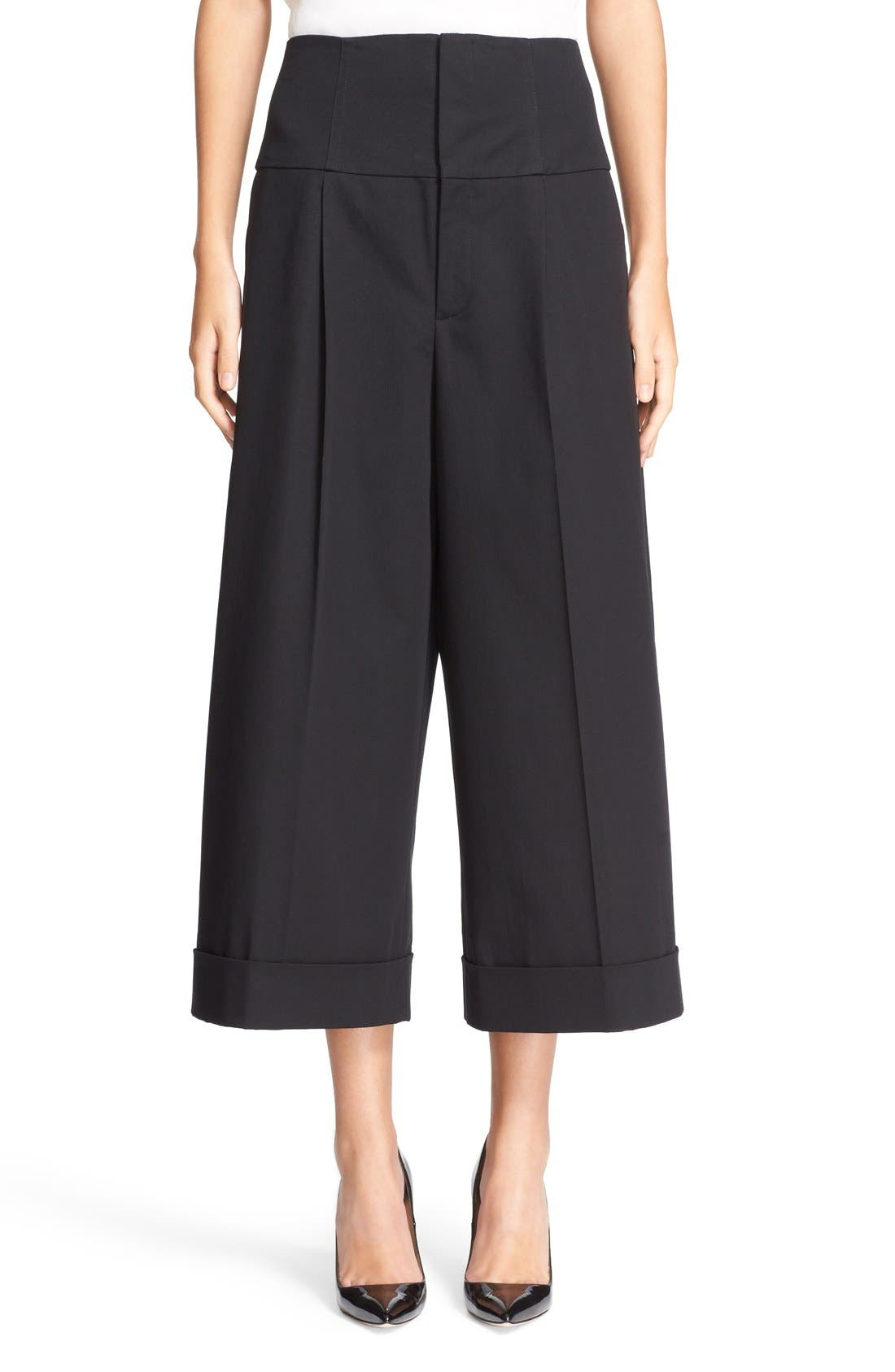 Alternate Image 1 Selected - RED Valentino Wide Leg Stretch Cotton Crop Pants