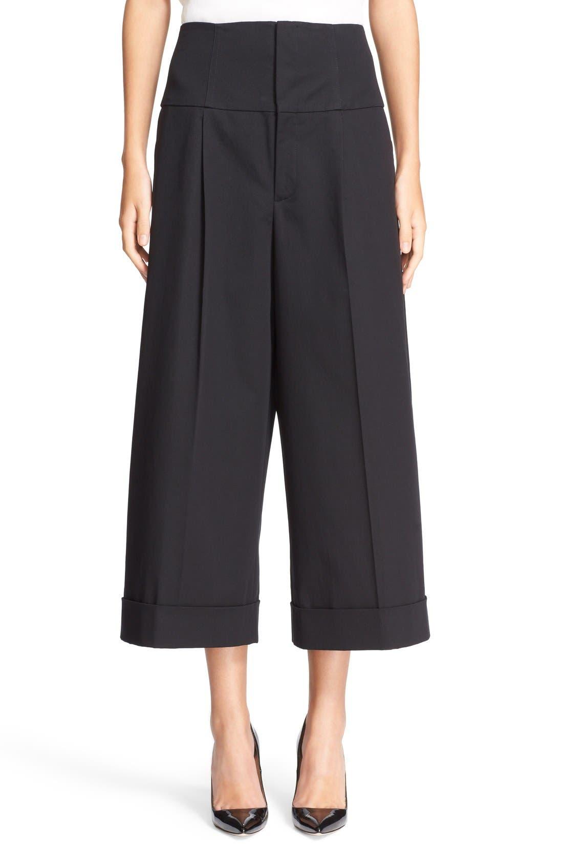 Wide Leg Stretch Cotton Crop Pants,                         Main,                         color, Black
