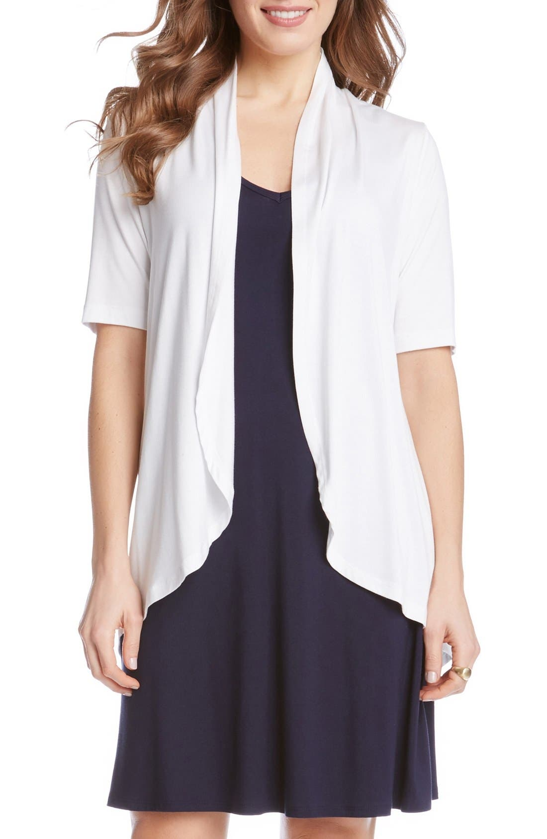 Main Image - Karen Kane 'Sophie' Short Sleeve Jersey Open Front Cardigan