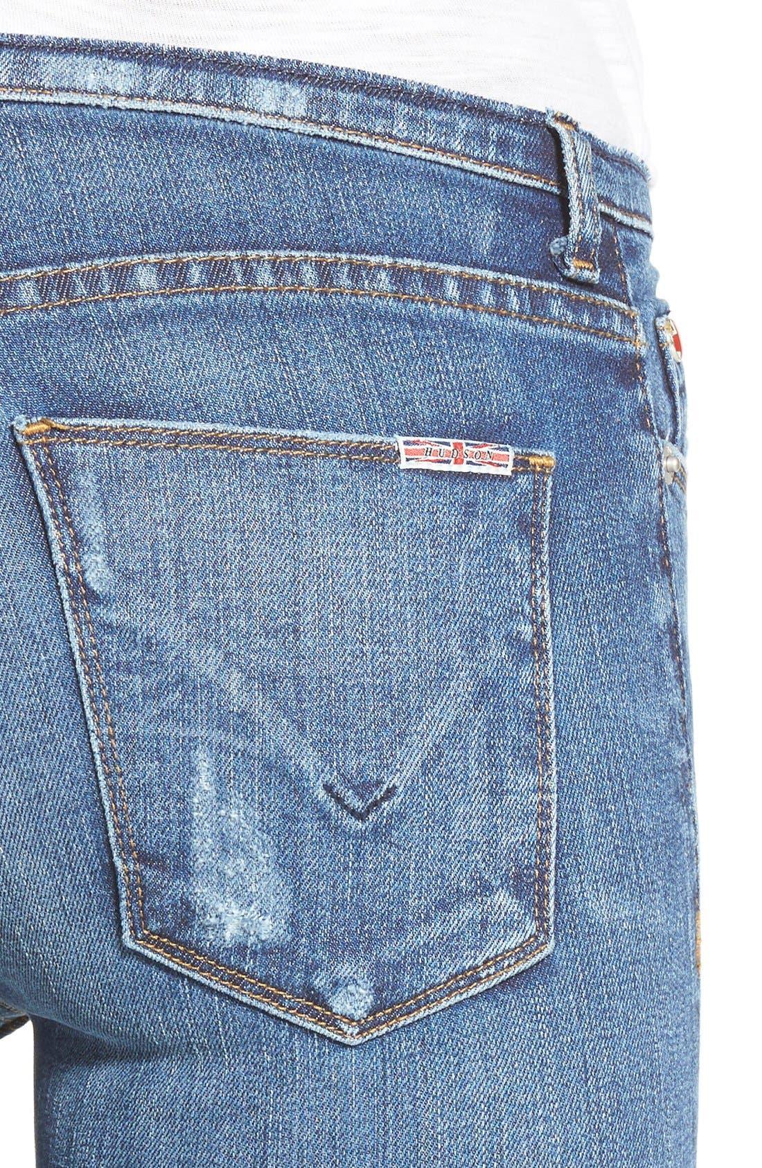 Alternate Image 4  - Hudson Jeans 'Krista' Raw Hem Ankle Super Skinny Jeans (Point Break)
