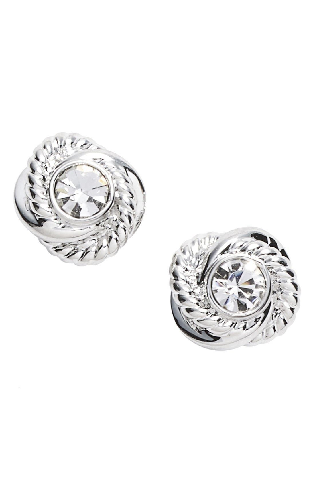 'infinity and beyond' knot earrings,                             Main thumbnail 1, color,                             Clear/ Silver