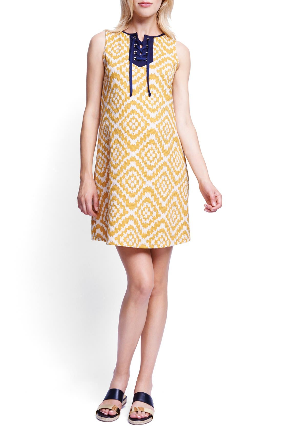 Lace-Up Maternity Shift Dress,                         Main,                         color, Mustard Tapestry/ Navy