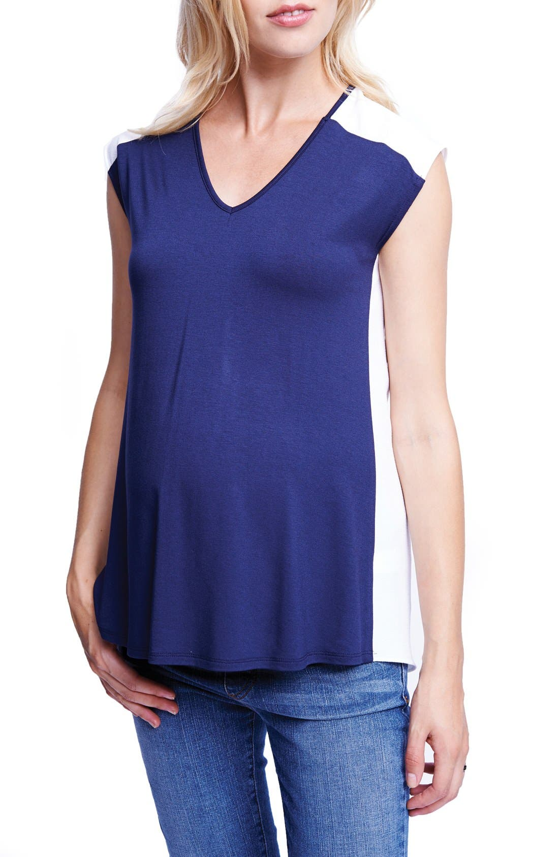 Colorblock Maternity Tee,                         Main,                         color, Navy/ White