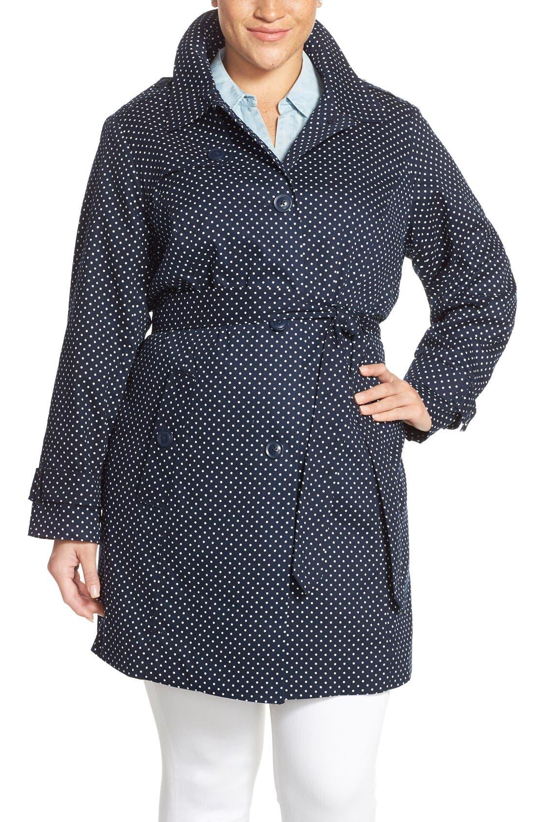 Main Image - London Fog Polka Dot Single Breasted Trench Coat (Plus Size)