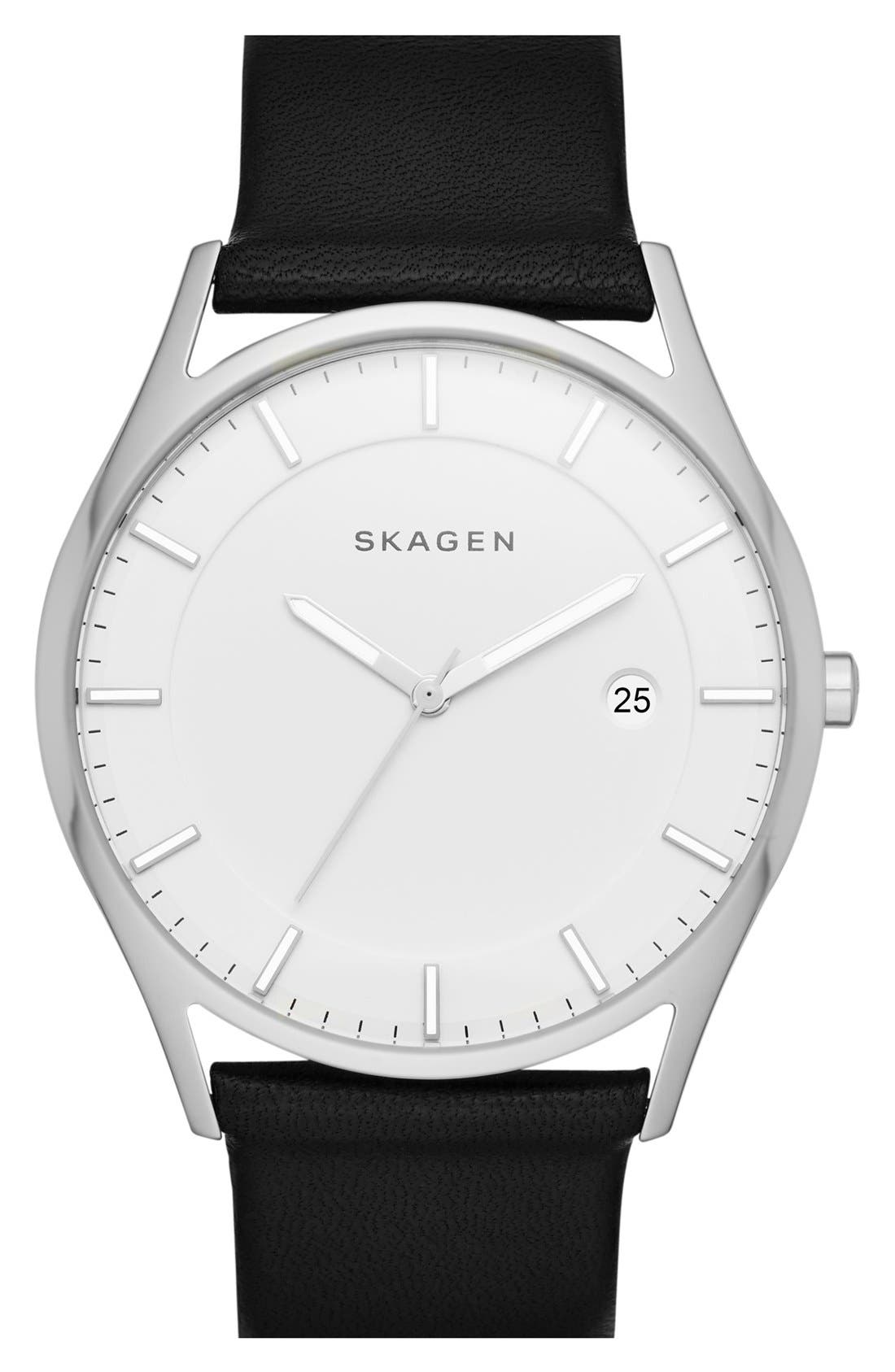 Alternate Image 1 Selected - Skagen 'Holst' Leather Strap Watch, 40mm