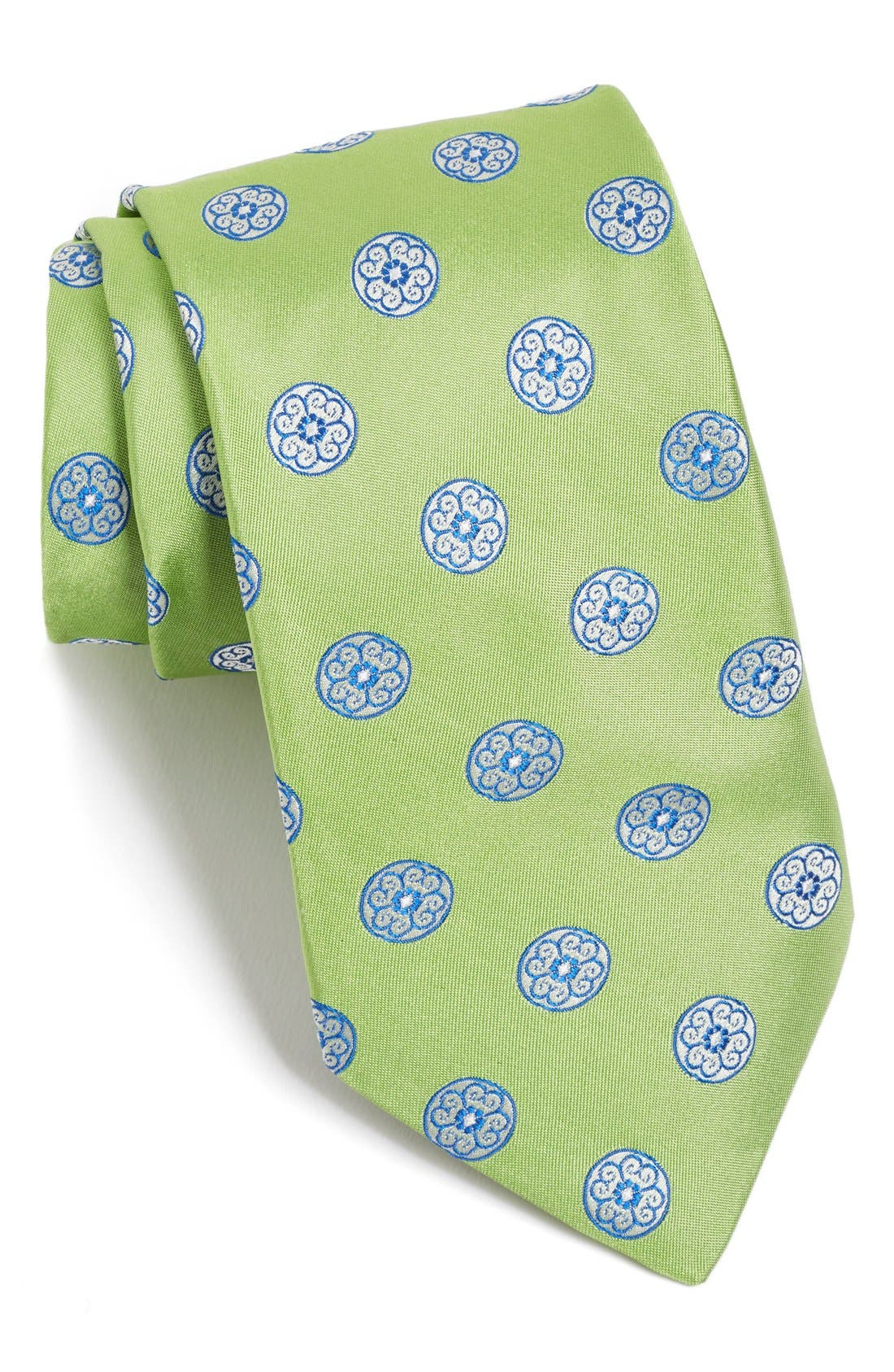 Medallion Woven Silk Tie,                             Main thumbnail 1, color,                             Green
