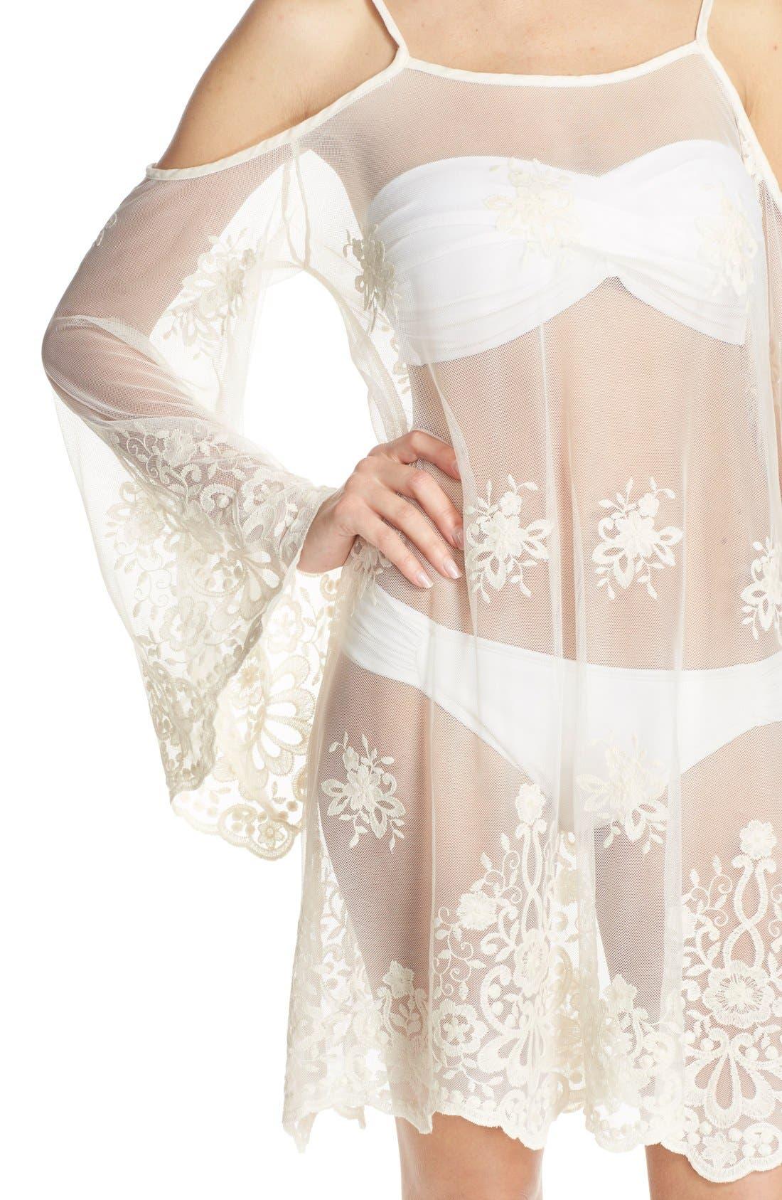 Alternate Image 4  - Elan Lace Cover-Up Cold Shoulder Dress