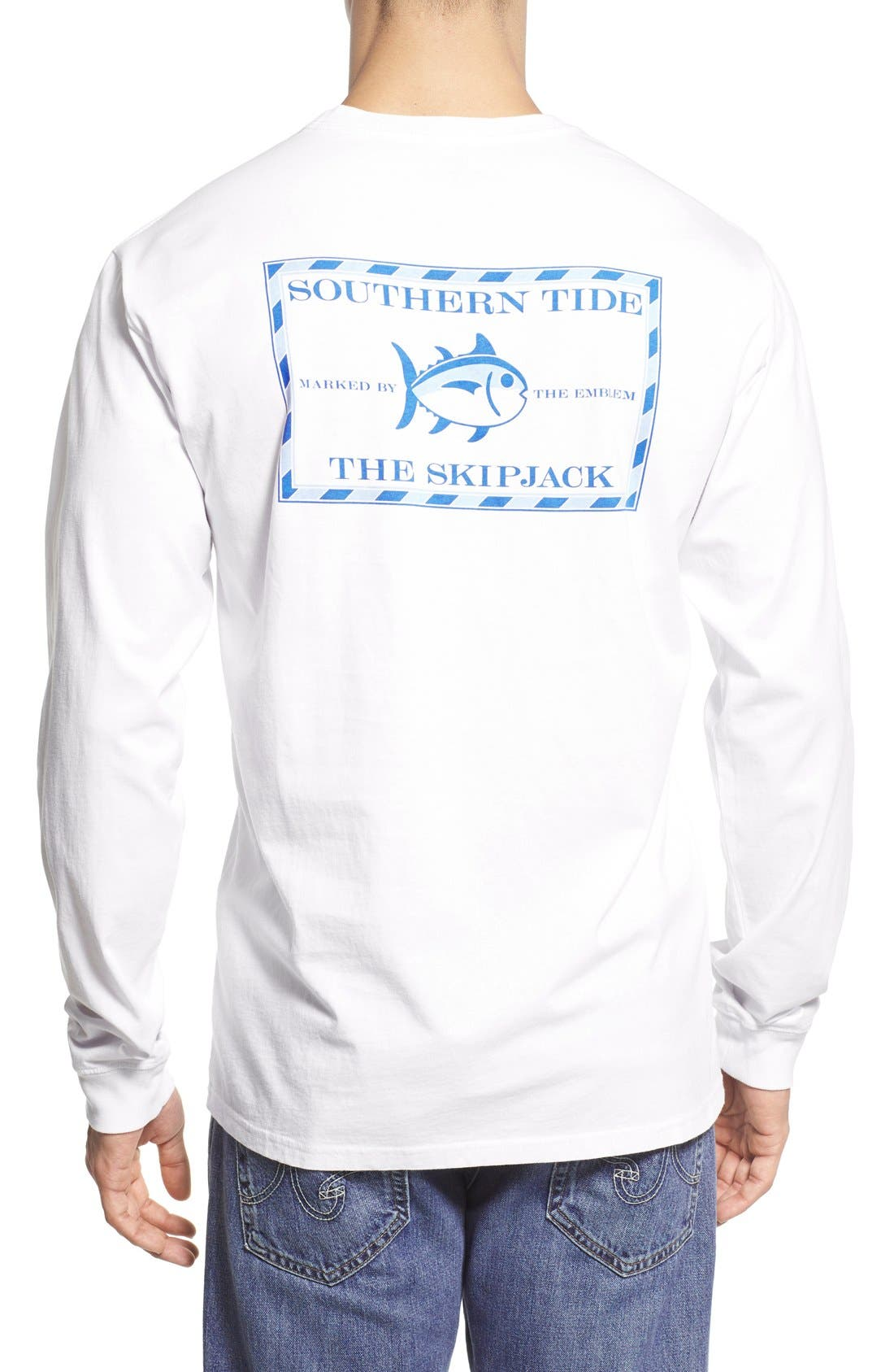 'Skipjack' Long Sleeve Graphic T-Shirt,                             Main thumbnail 1, color,                             Classic White