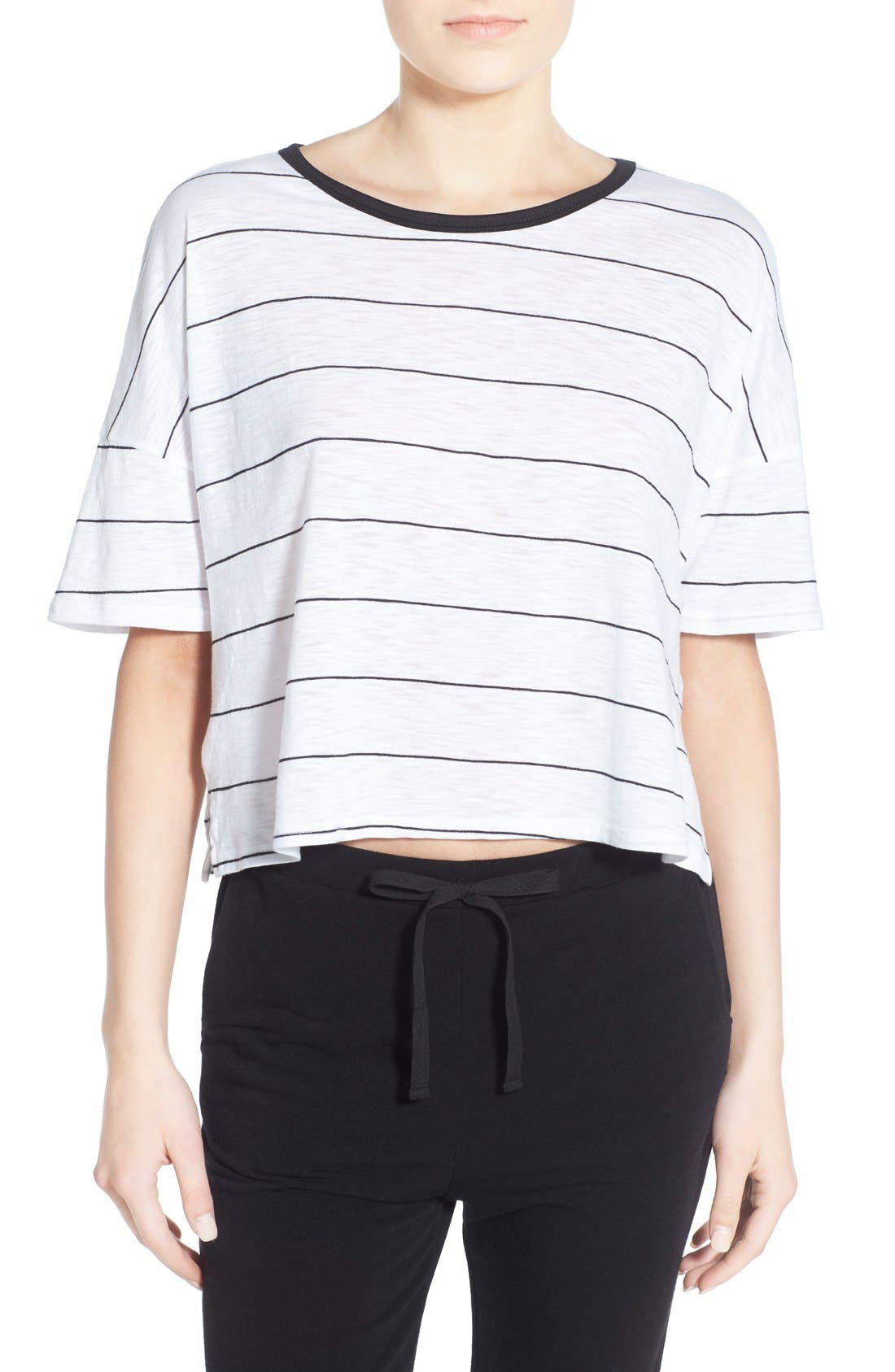 Alternate Image 1 Selected - Michelle by Comune Stripe Crop Tee