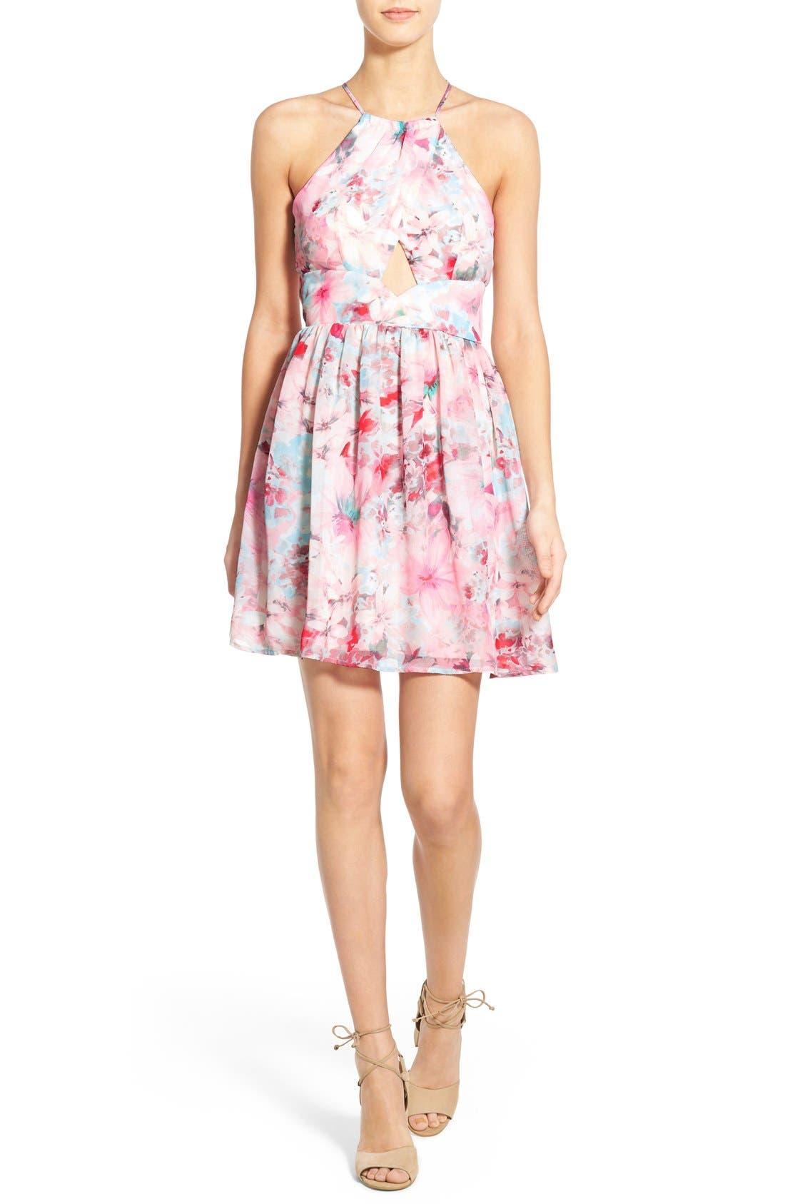 Main Image - Trixxi Floral Print High Neck Skater Dress