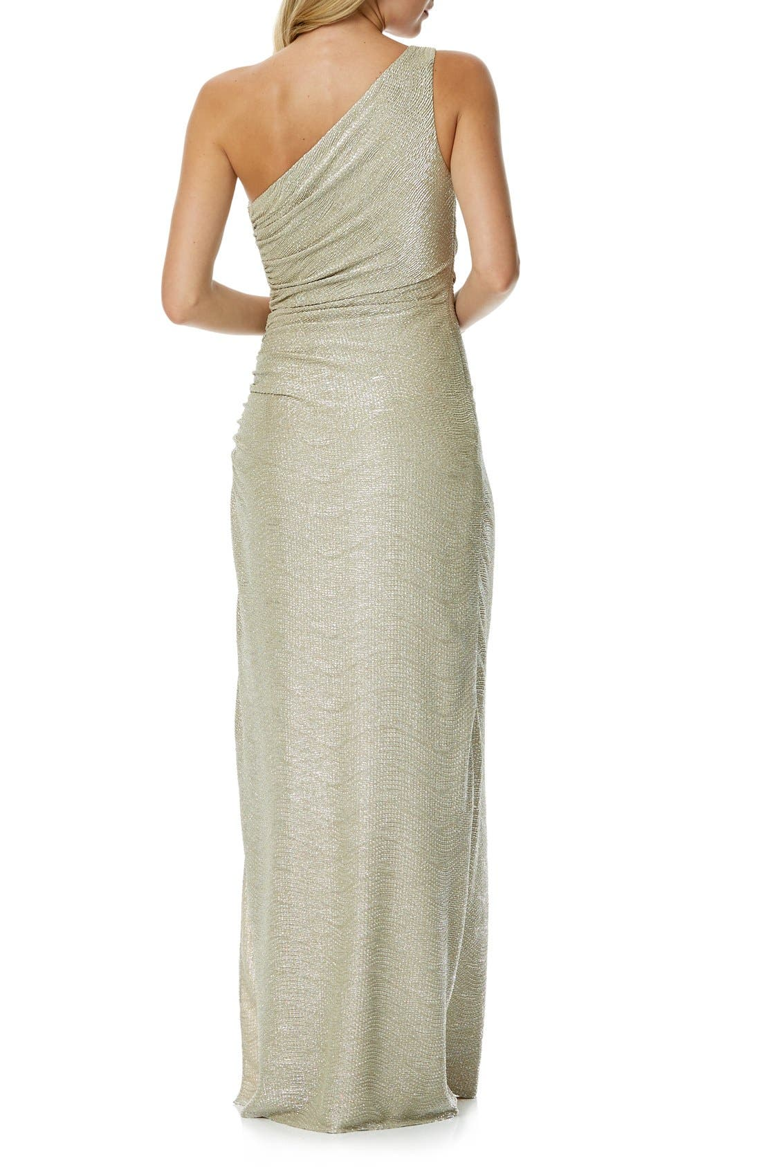 Alternate Image 2  - Laundry by Shelli Segal Foiled One-Shoulder Gown
