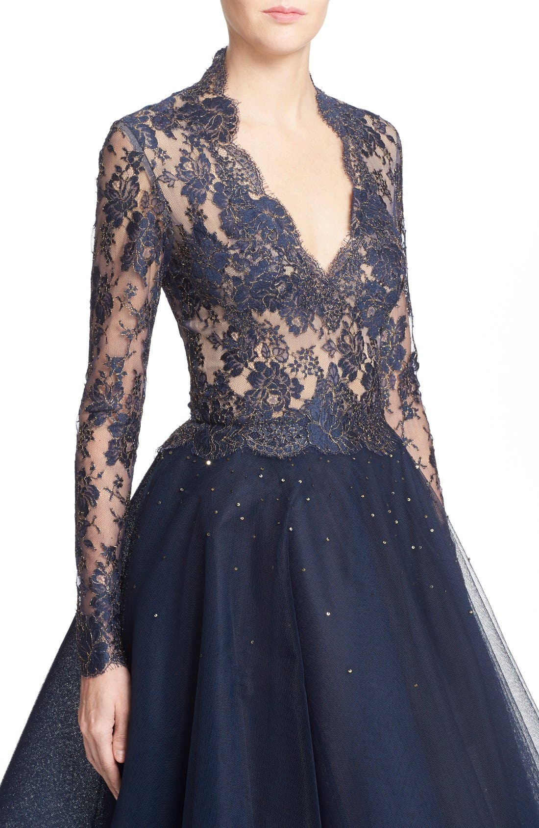 Chantilly Lace & Embellished Tulle High/Low Dress,                             Alternate thumbnail 6, color,                             Navy