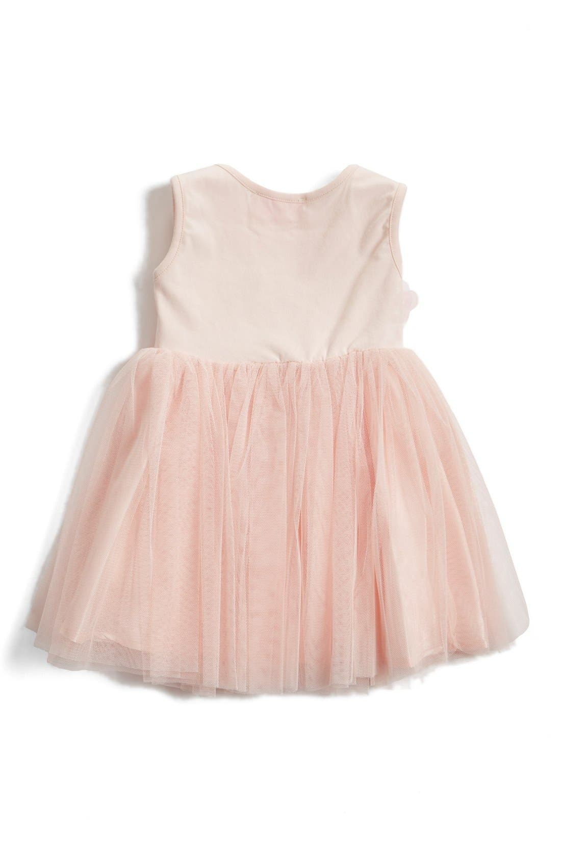 Alternate Image 2  - Popatu Floral Appliqué Tulle Dress (Baby Girls)