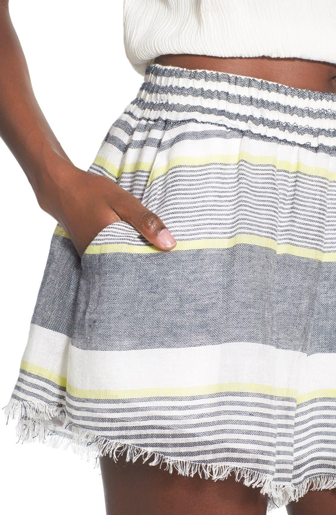 ASTR 'Ibiza' Linen & Cotton Shorts,                             Alternate thumbnail 4, color,                             Lime Stripe