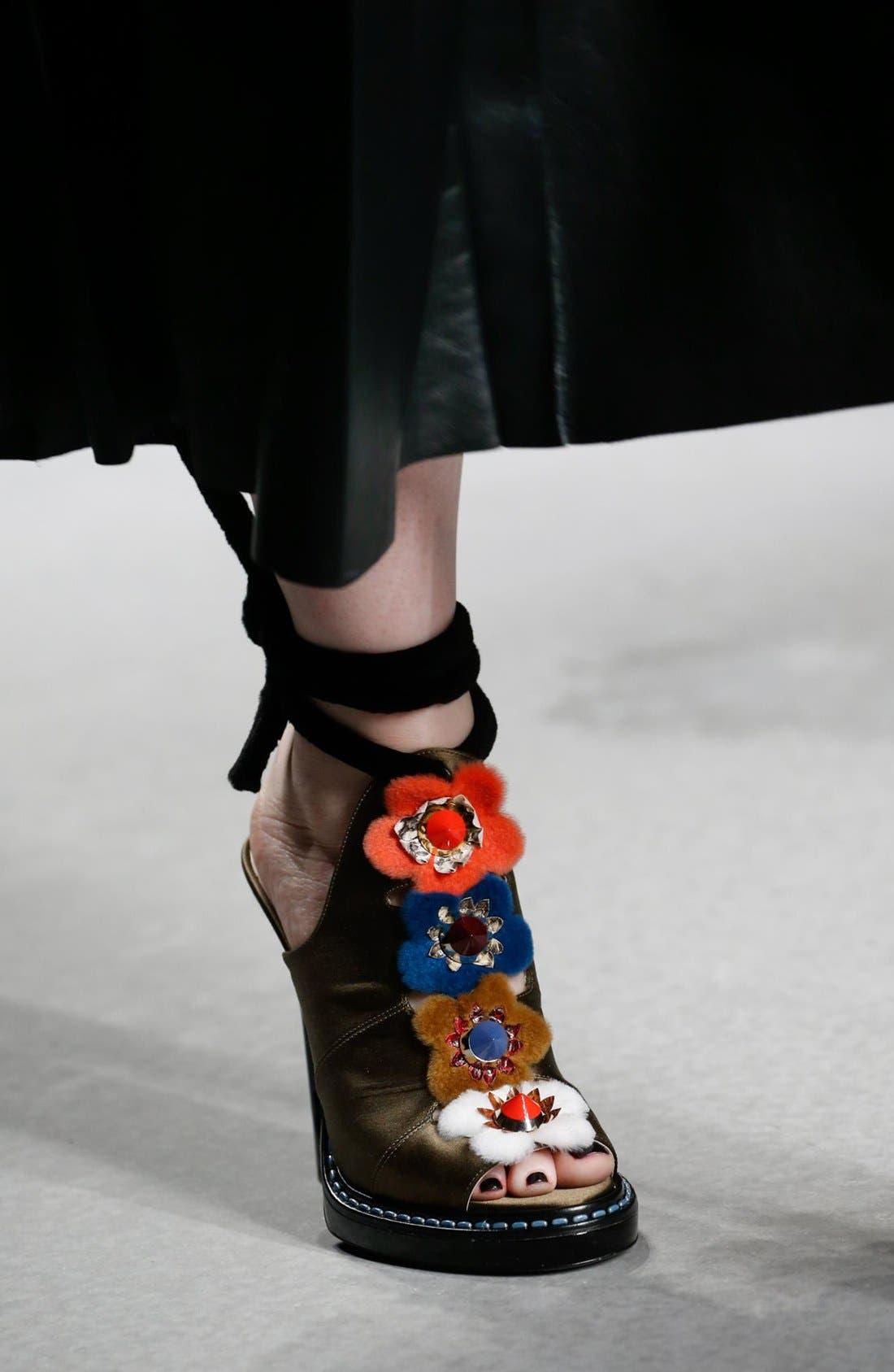'Flowerland' Peep Toe Sandal,                             Alternate thumbnail 6, color,                             Black