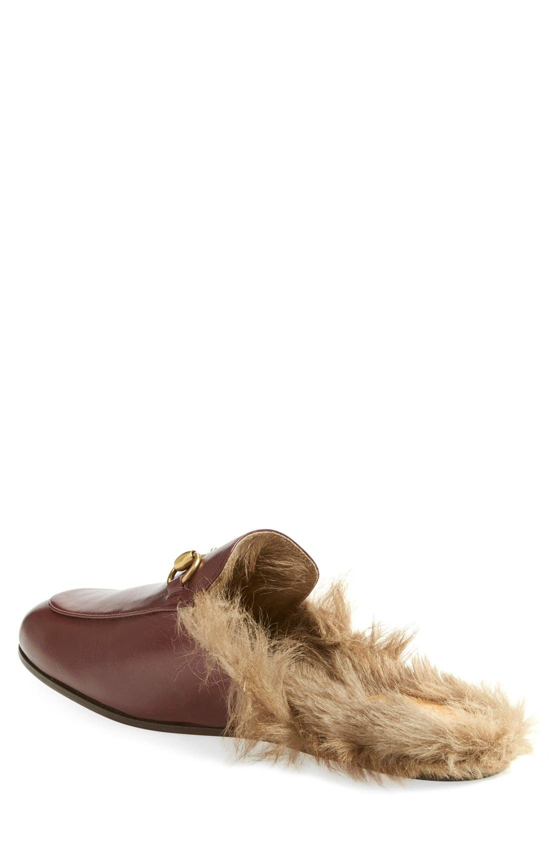Princetown Genuine Shearling Lined Mule Loafer,                             Alternate thumbnail 2, color,                             Red/ Tea Leather