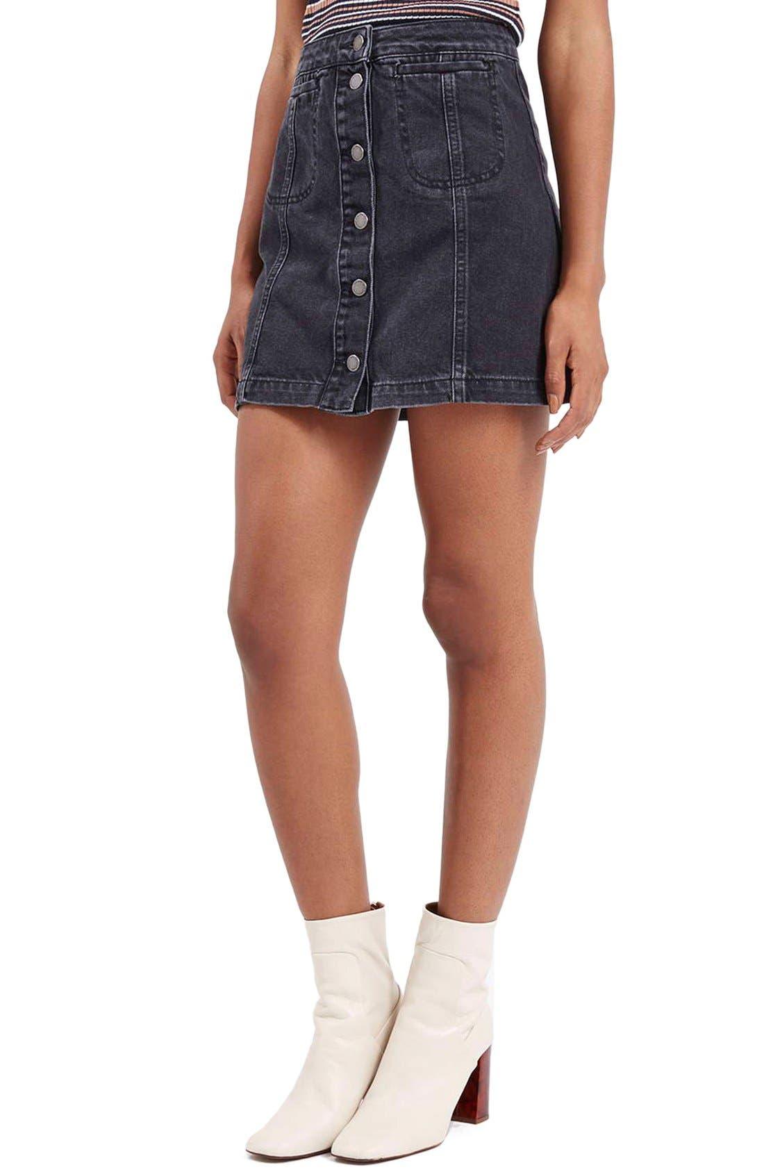Main Image - Topshop Button Front Denim A-Line Skirt