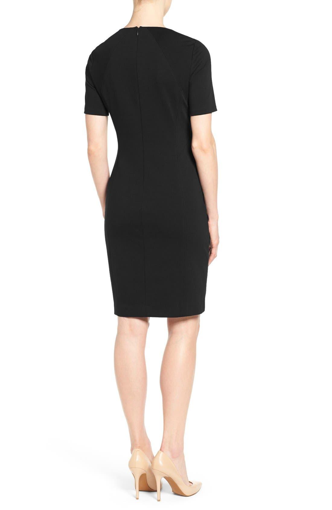 'Judianne' Short Sleeve Sheath Dress,                             Alternate thumbnail 2, color,                             Black
