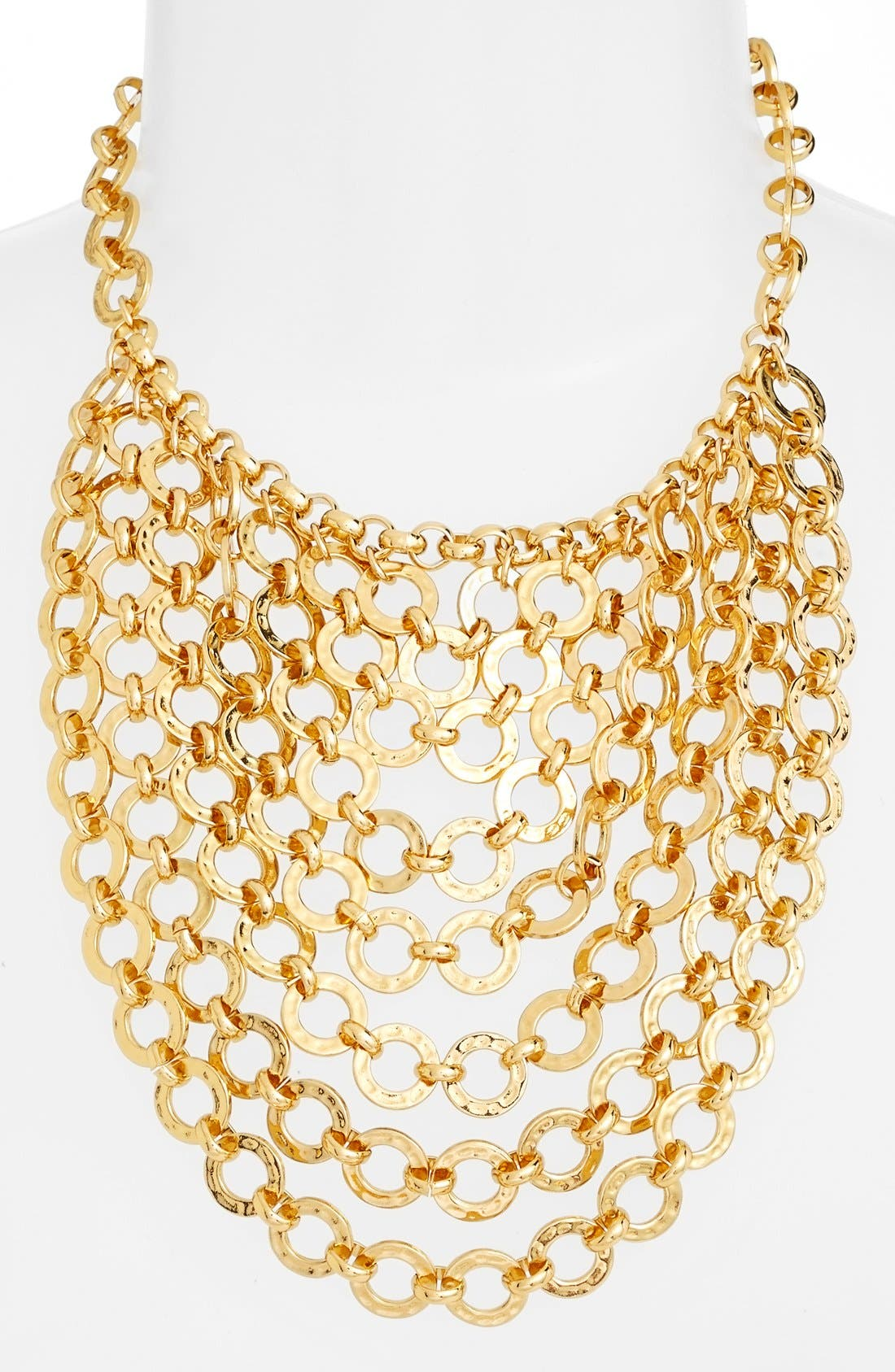 Chain Bib Necklace,                             Alternate thumbnail 2, color,                             Gold
