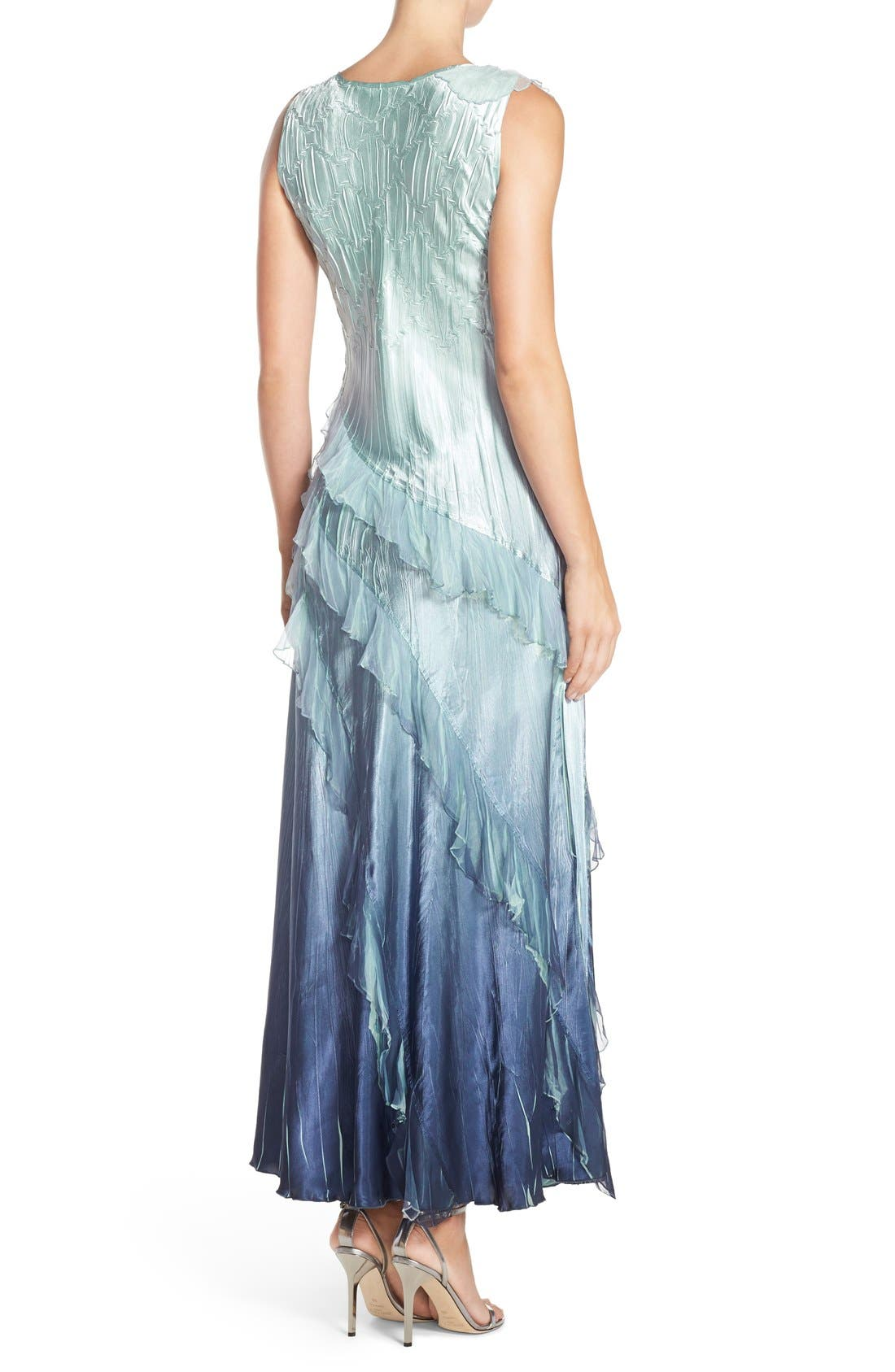 Alternate Image 2  - Black by Komarov Ombré Charmeuse & Chiffon Gown with Shawl